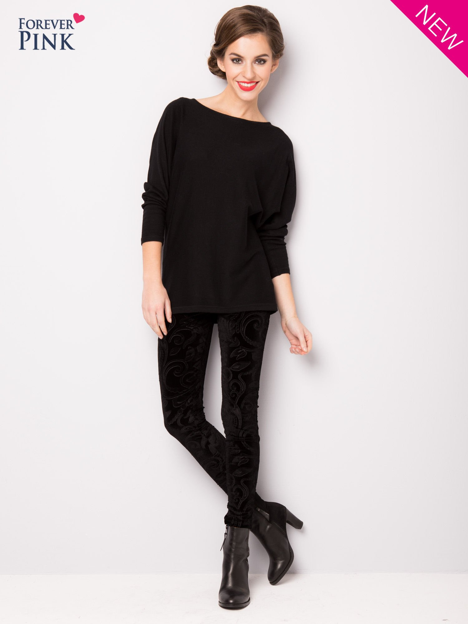 Czarne legginsy z weluru tłoczone w roślinny wzór                                  zdj.                                  2