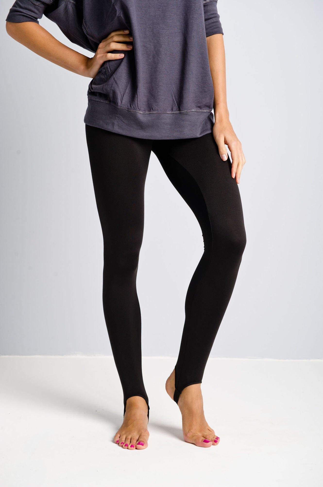 Czarne legginsy zakładane na stopę                                  zdj.                                  1