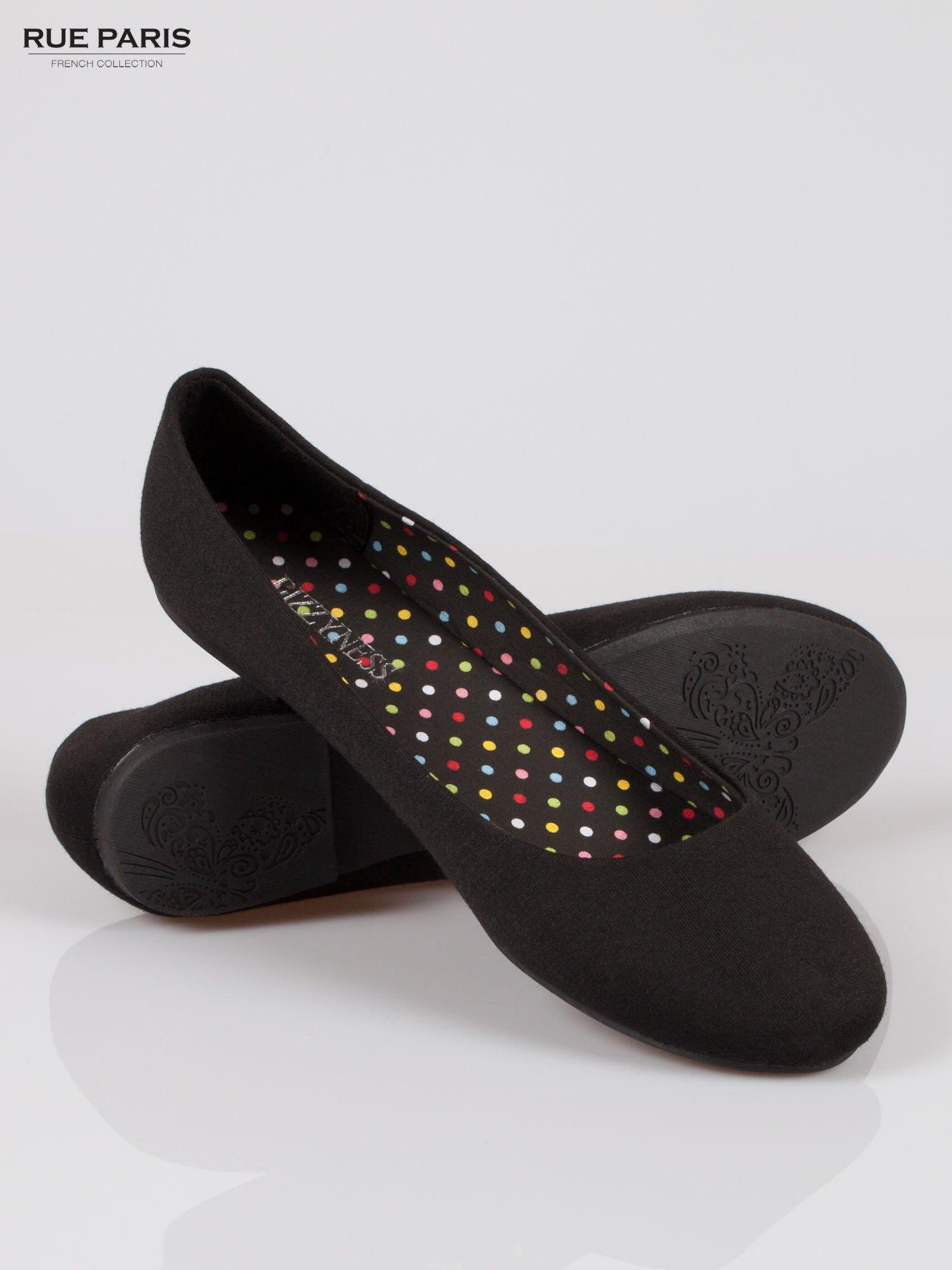 Czarne lekkie baleriny z tkaniny                                  zdj.                                  4