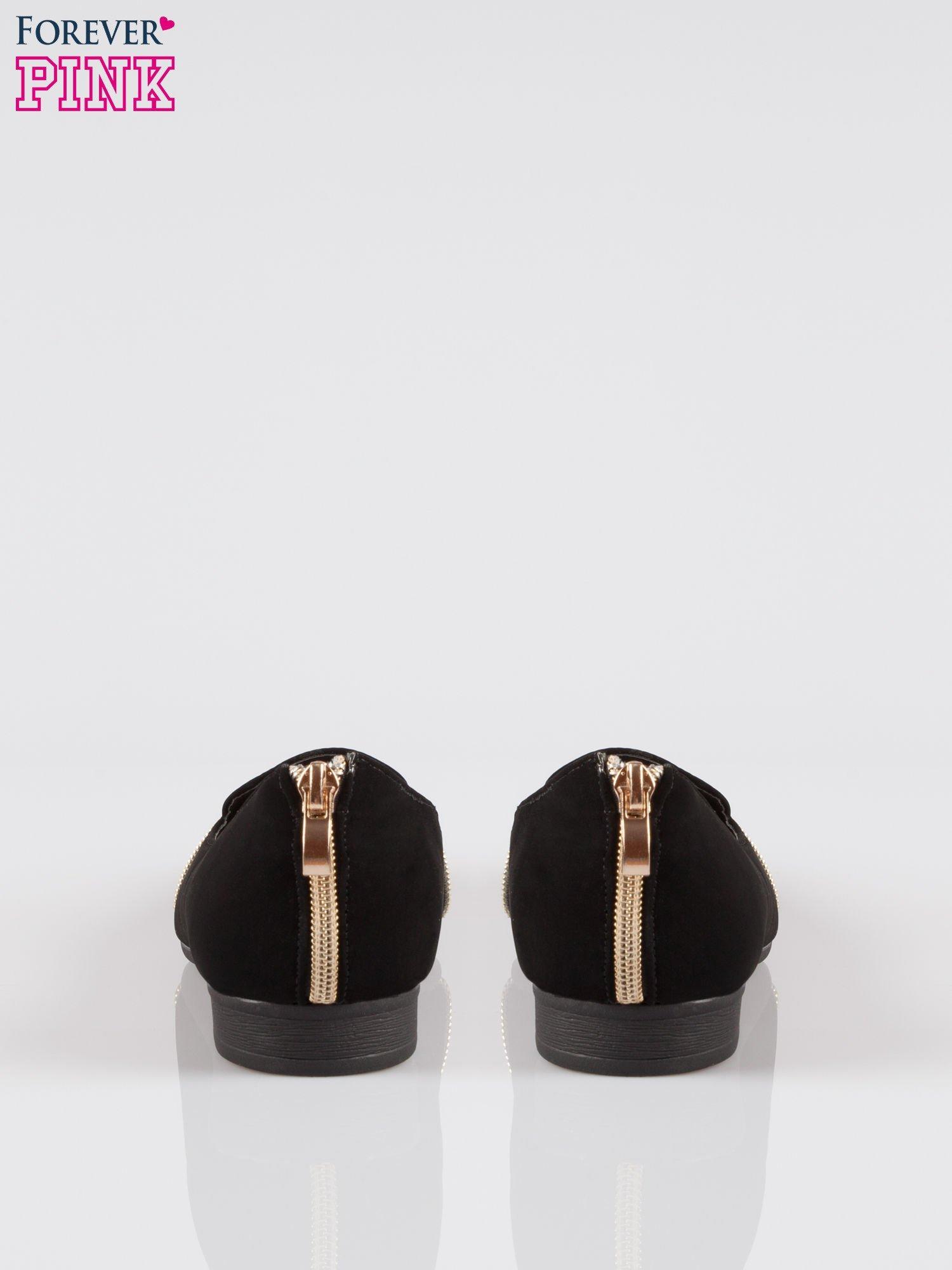 Czarne lordsy cap toe ze złotymi zamkami                                  zdj.                                  3
