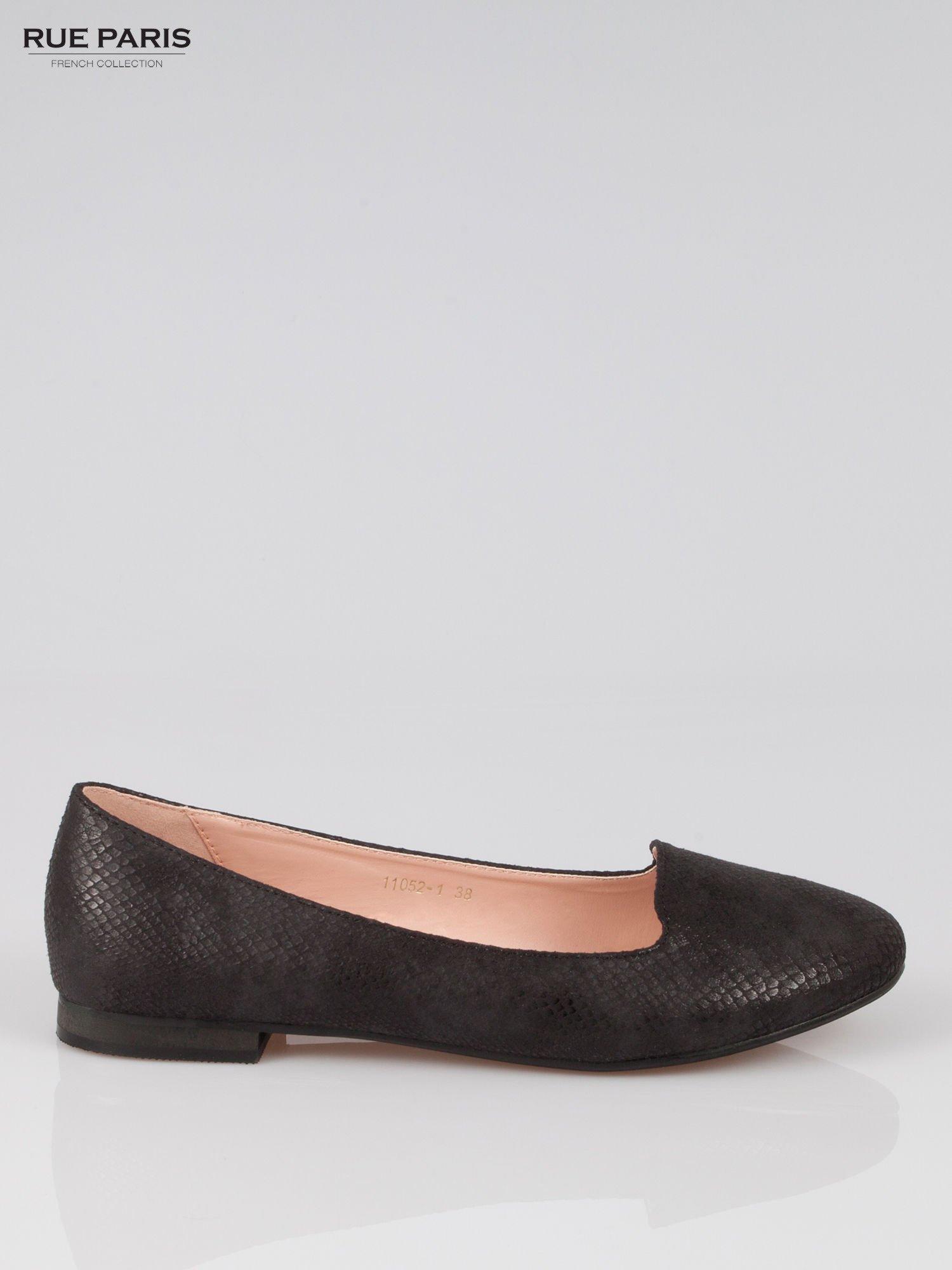 Czarne lordsy faux leather Mess Around z wężowej skórki                                  zdj.                                  1