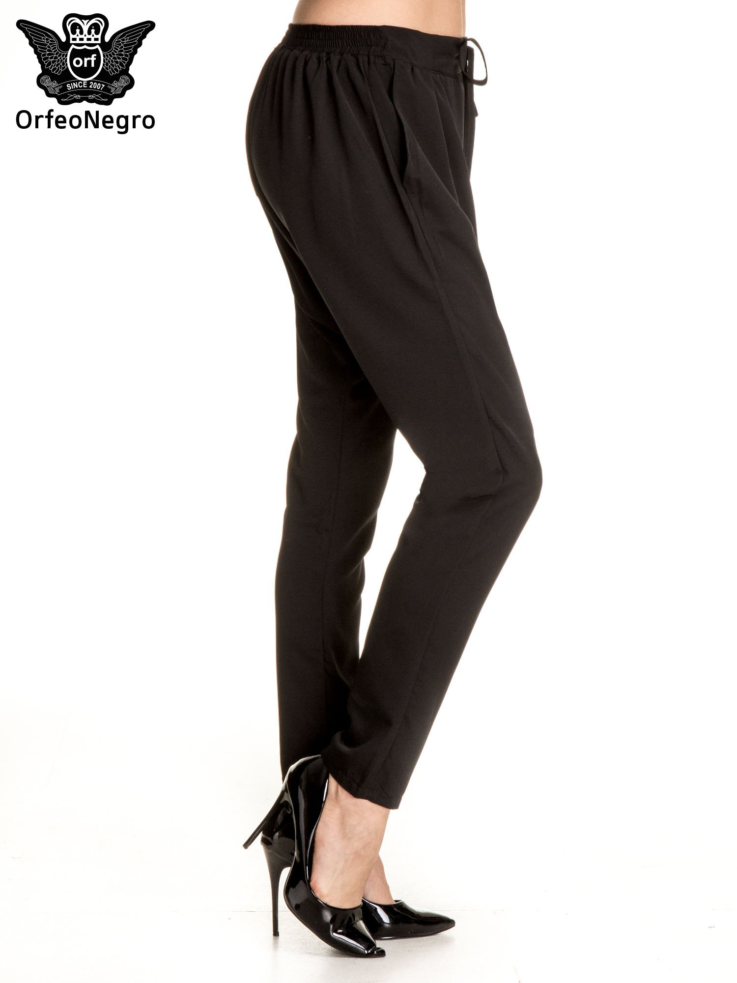 Czarne materiałowe spodnie baggy                                  zdj.                                  3