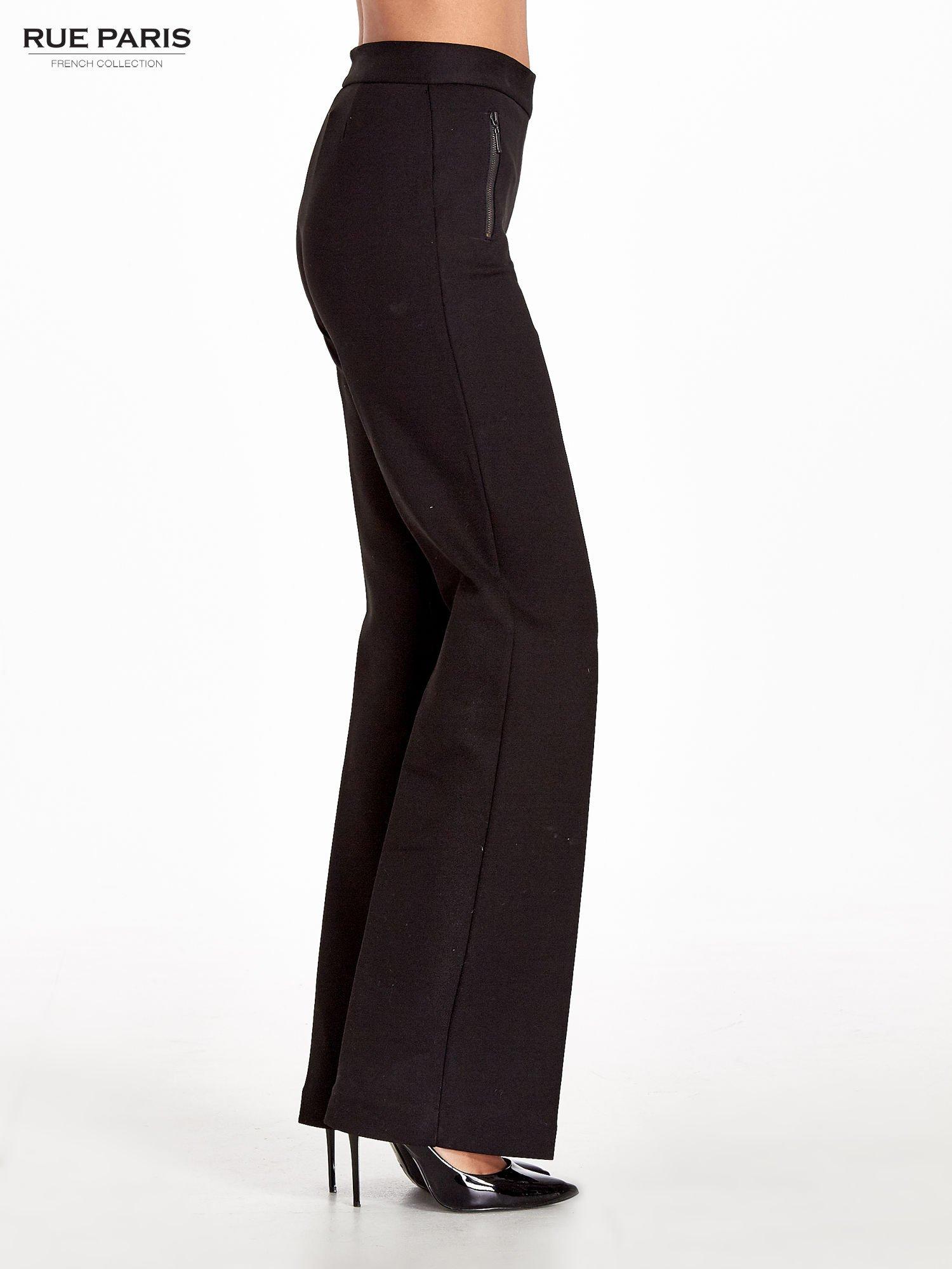 Czarne materiałowe spodnie dzwony w kant                                  zdj.                                  3