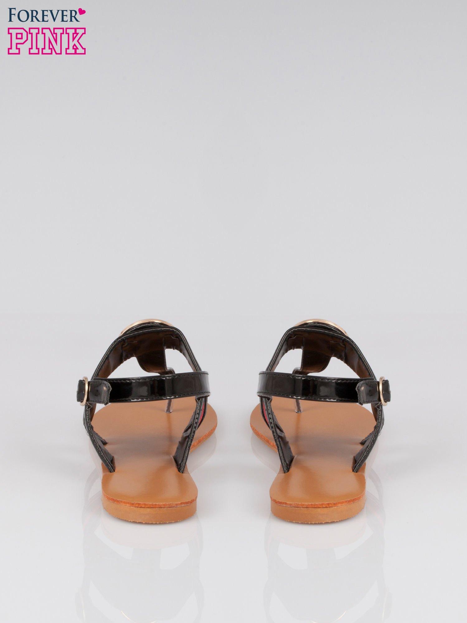 Czarne płaskie japonki ze złotą klamrą Cherish                                  zdj.                                  3