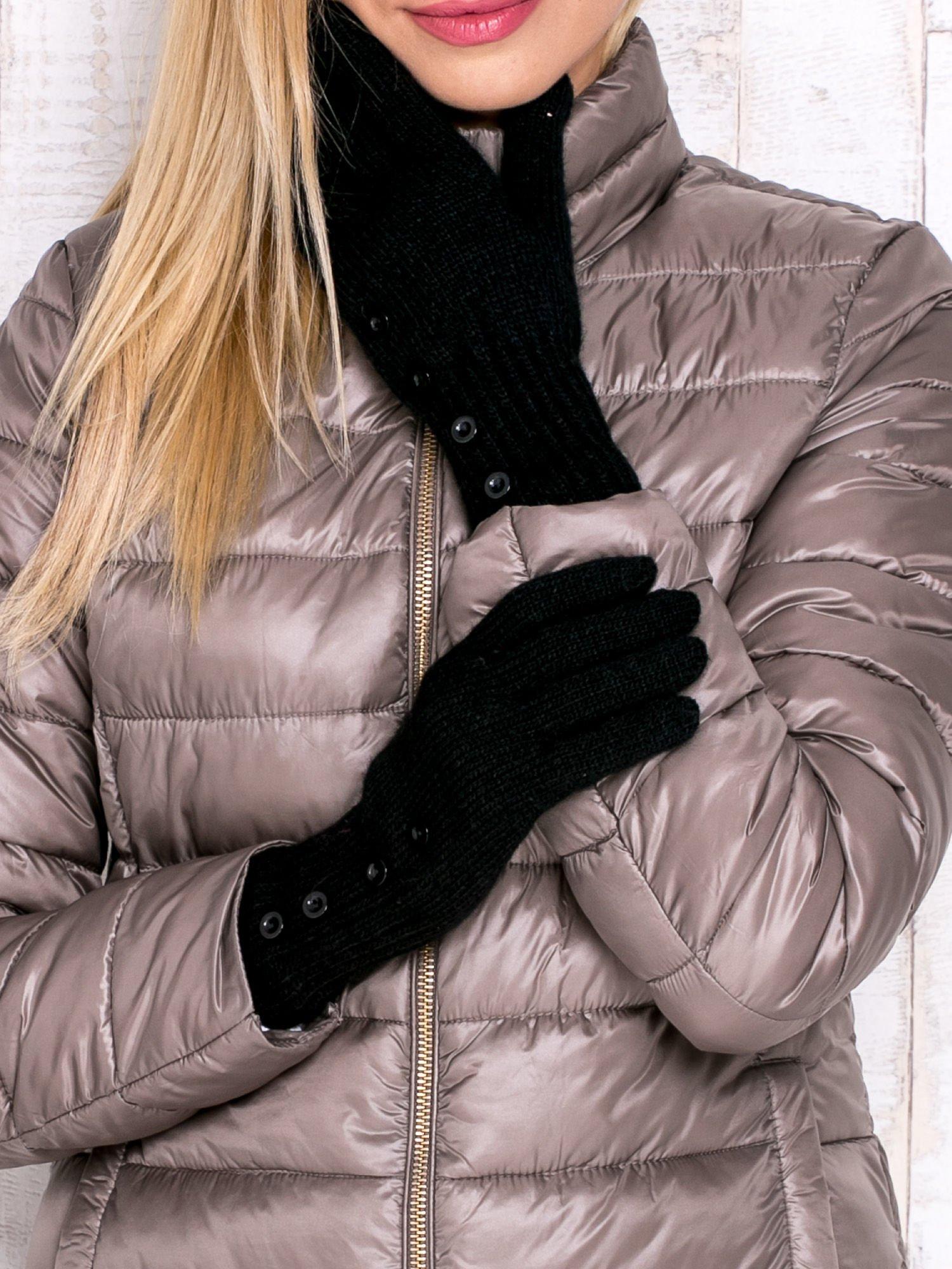 Czarne rękawiczki z guzikami                                  zdj.                                  1