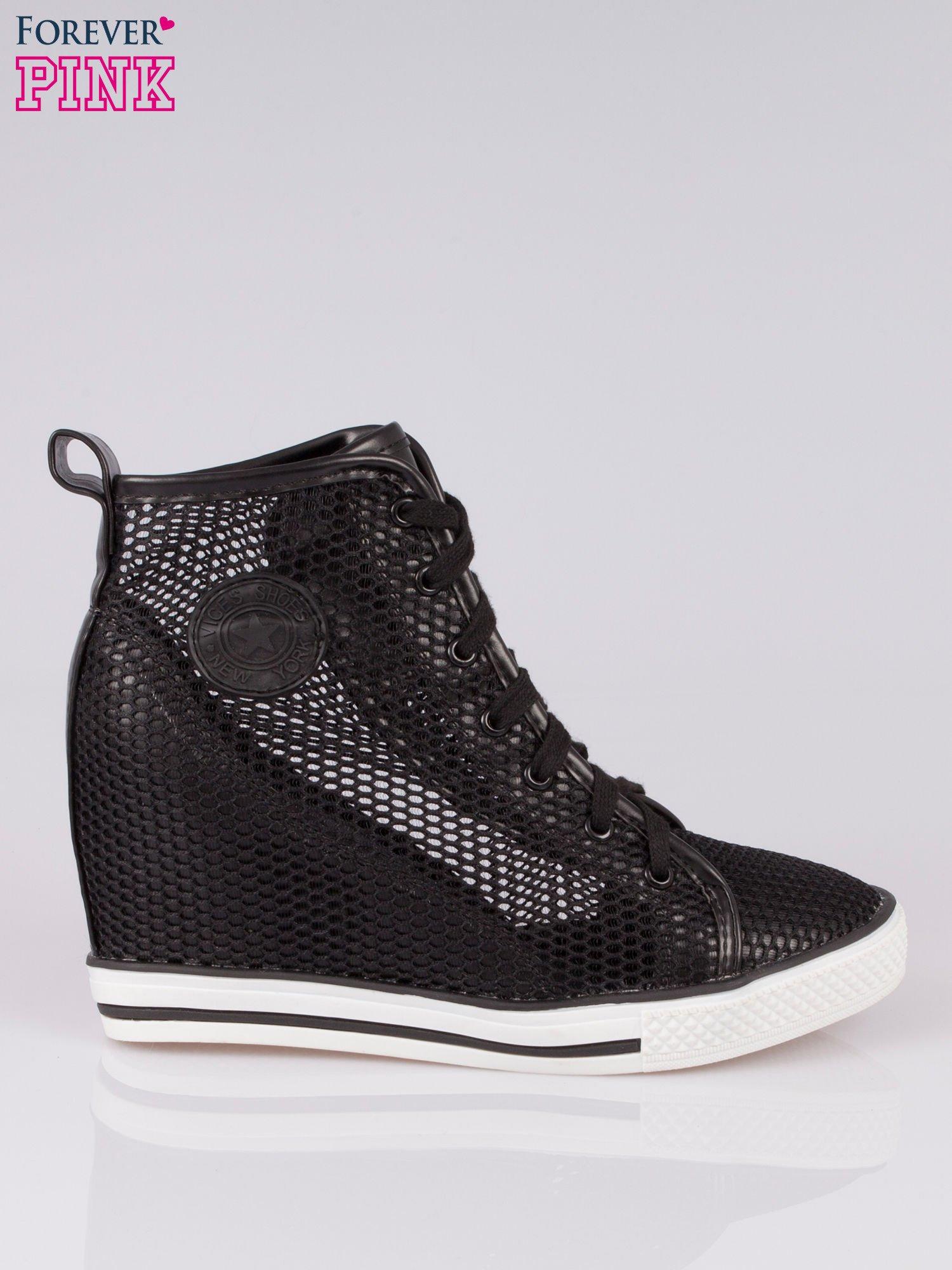 Czarne siateczkowe sneakersy damskie                                  zdj.                                  1