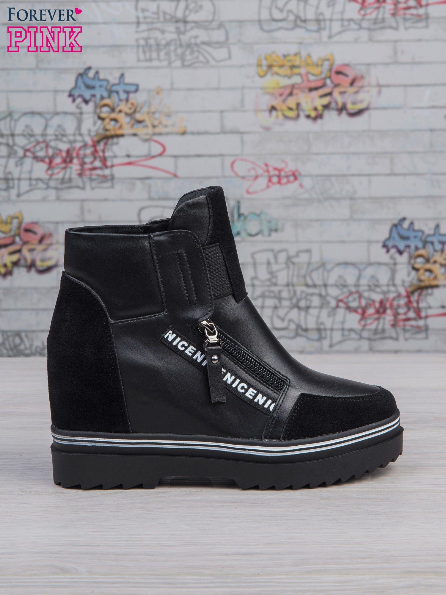 Czarne skórzane sneakersy Perry z zamszowymi wstawkami i suwakami                                  zdj.                                  1