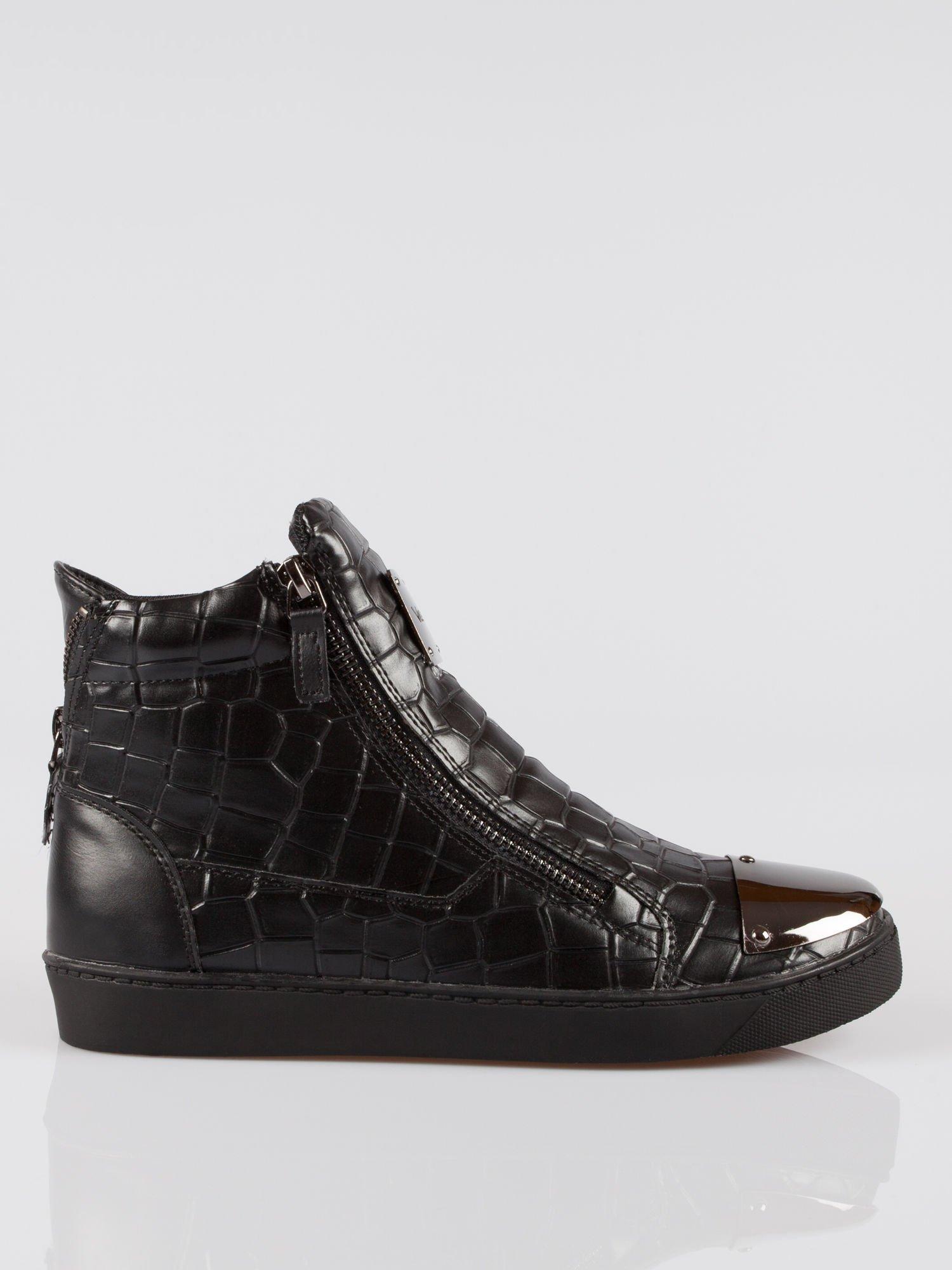 Czarne sneakersy Vanessa tłoczone na wzór skóry krokodyla                                  zdj.                                  1