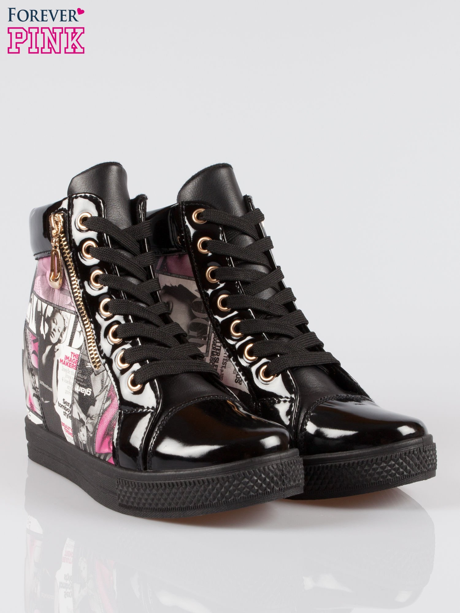 Czarne sneakersy damskie z nadrukiem magazine print Everywhere                                  zdj.                                  2