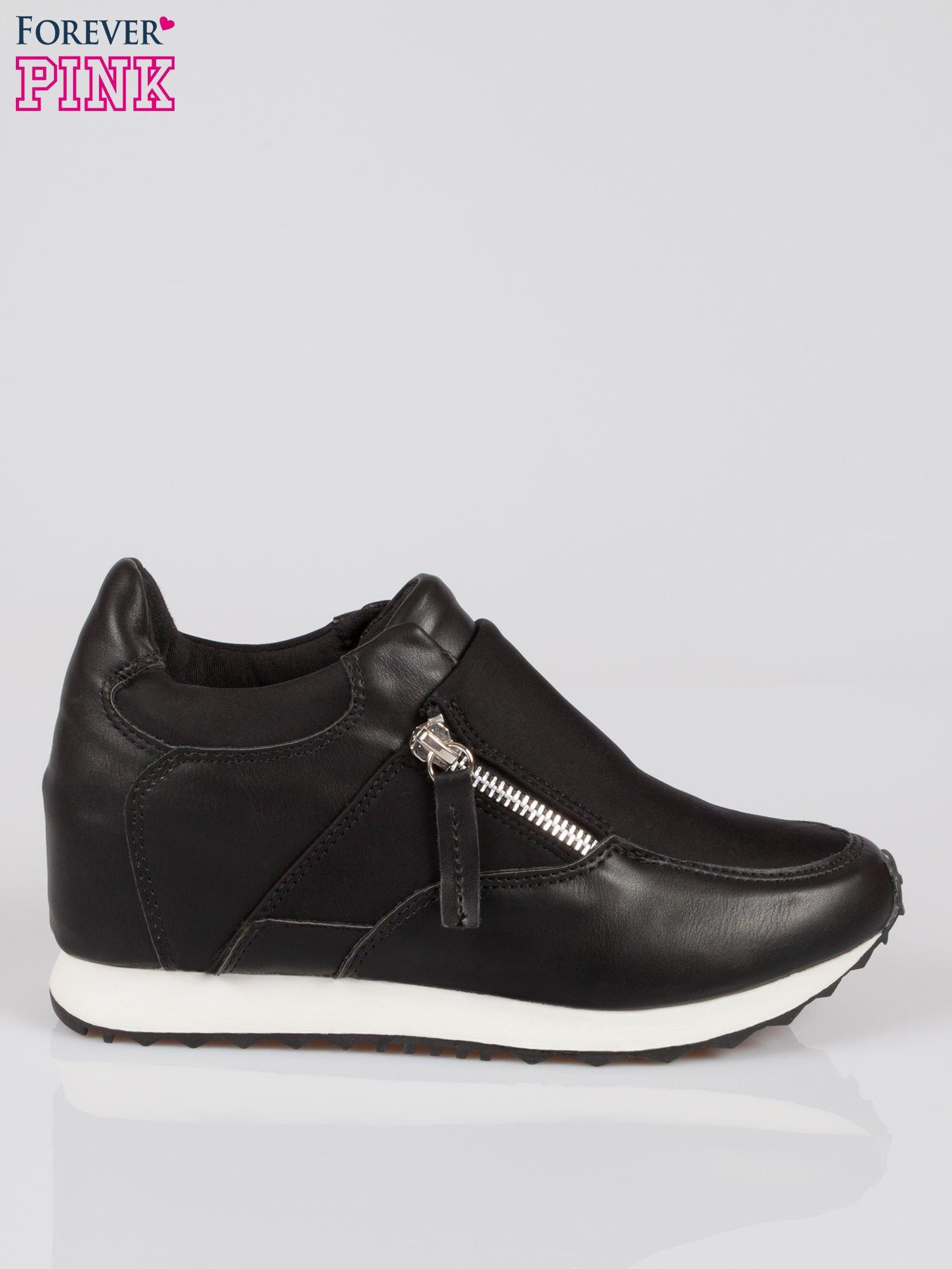 Czarne sneakersy damskie z suwakiem                                  zdj.                                  1
