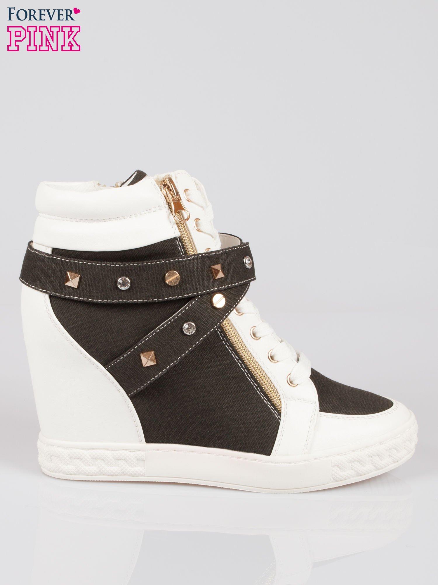 Czarne sneakersy z dżetami i suwakiem                                  zdj.                                  1