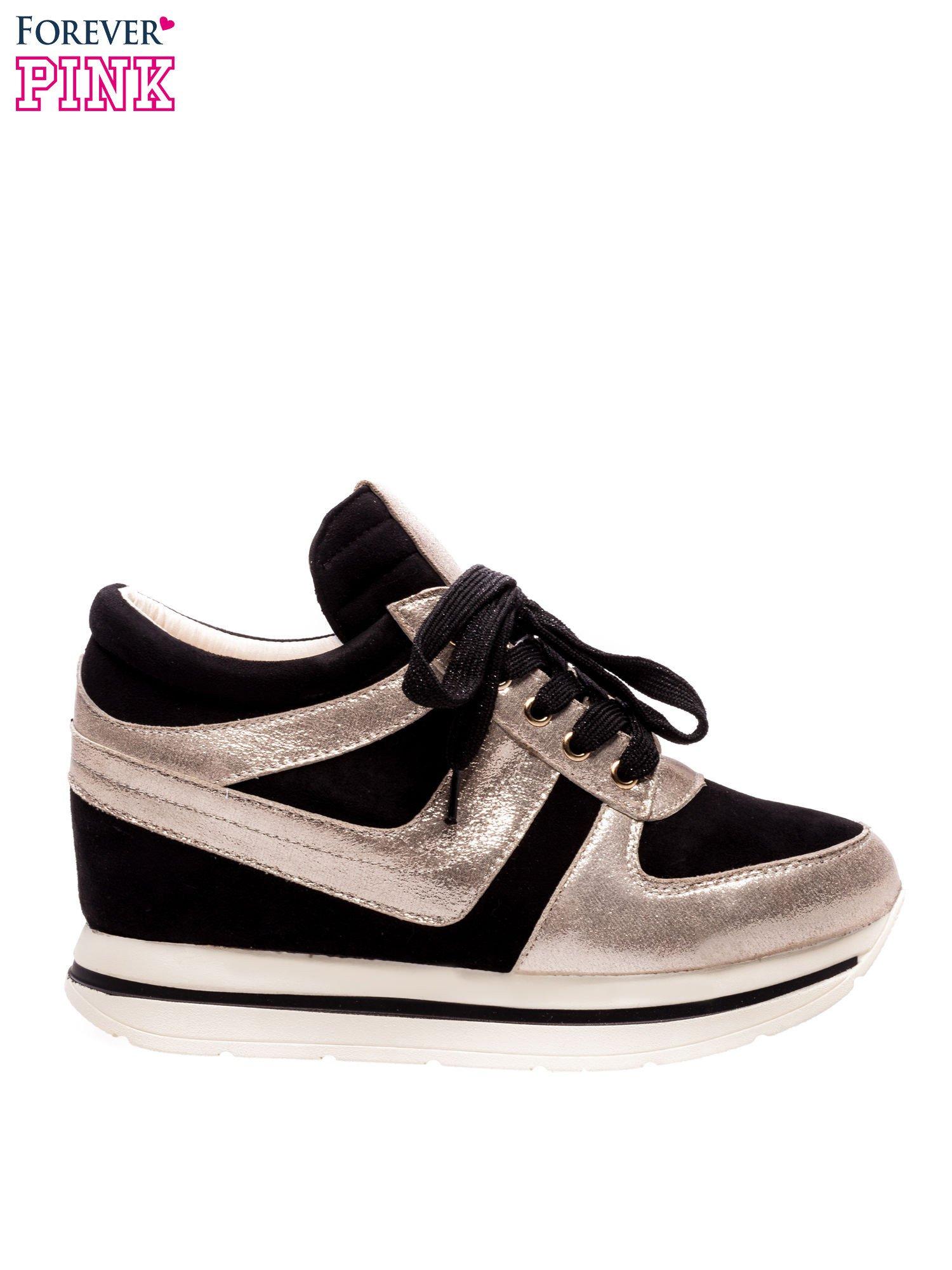 Czarne sneakersy ze złotą wstawką                                  zdj.                                  1