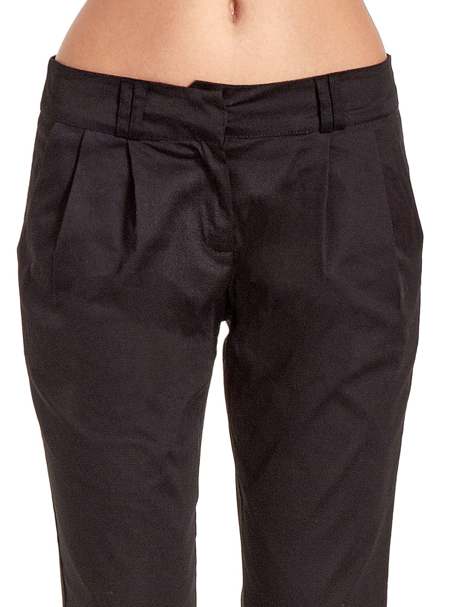 Czarne spodnie cygaretki z zakładkami                                  zdj.                                  5