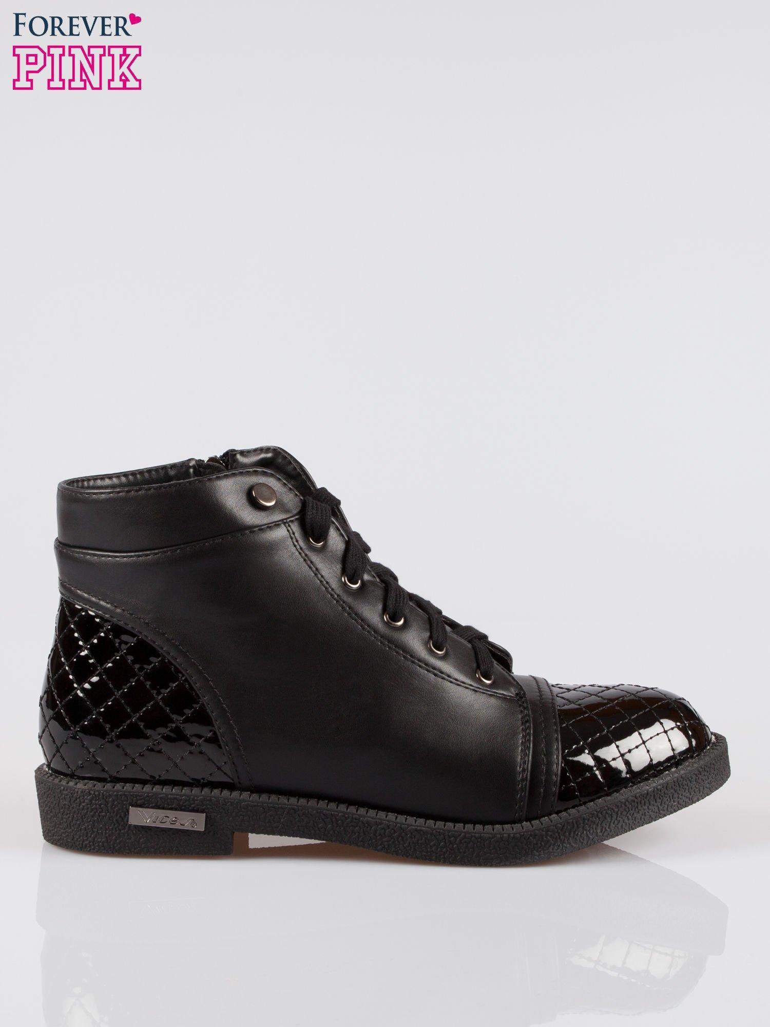 Czarne sznurowane botki damskie crocodile skin cap toe                                  zdj.                                  1