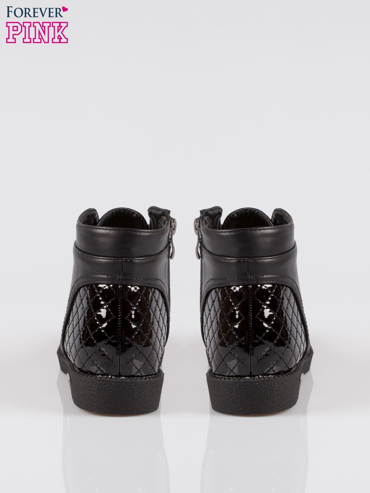 Czarne sznurowane botki damskie crocodile skin cap toe                                  zdj.                                  3