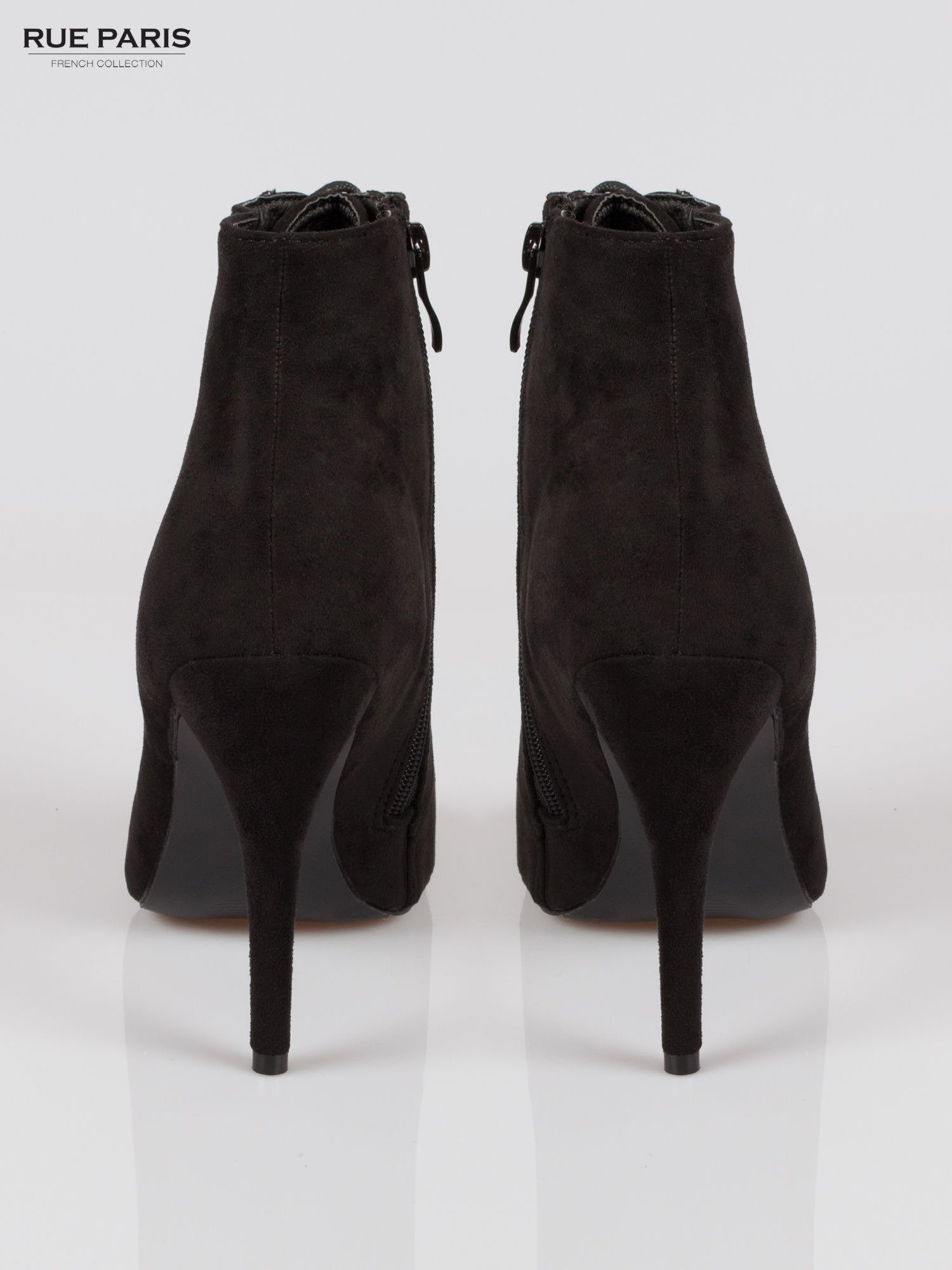 Czarne sznurowane botki faux suede Trish open toe                                  zdj.                                  3