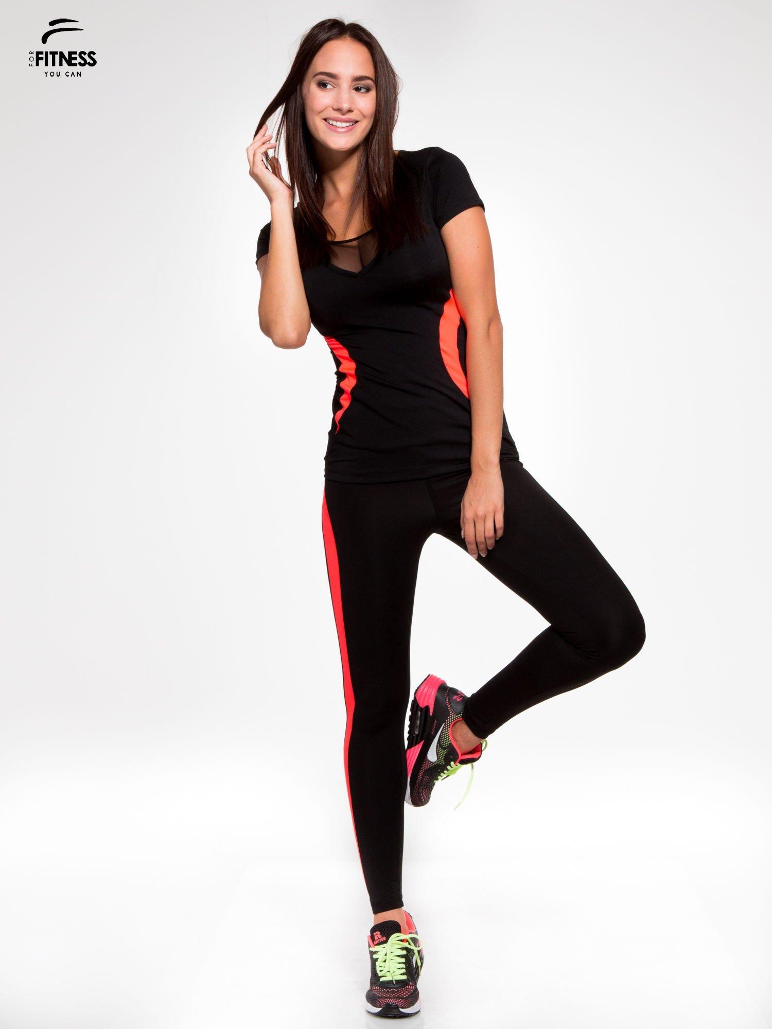 Czarne termoaktywne legginsy do biegania z fluoróżowymi lampasami ♦ Performance RUN                                  zdj.                                  2