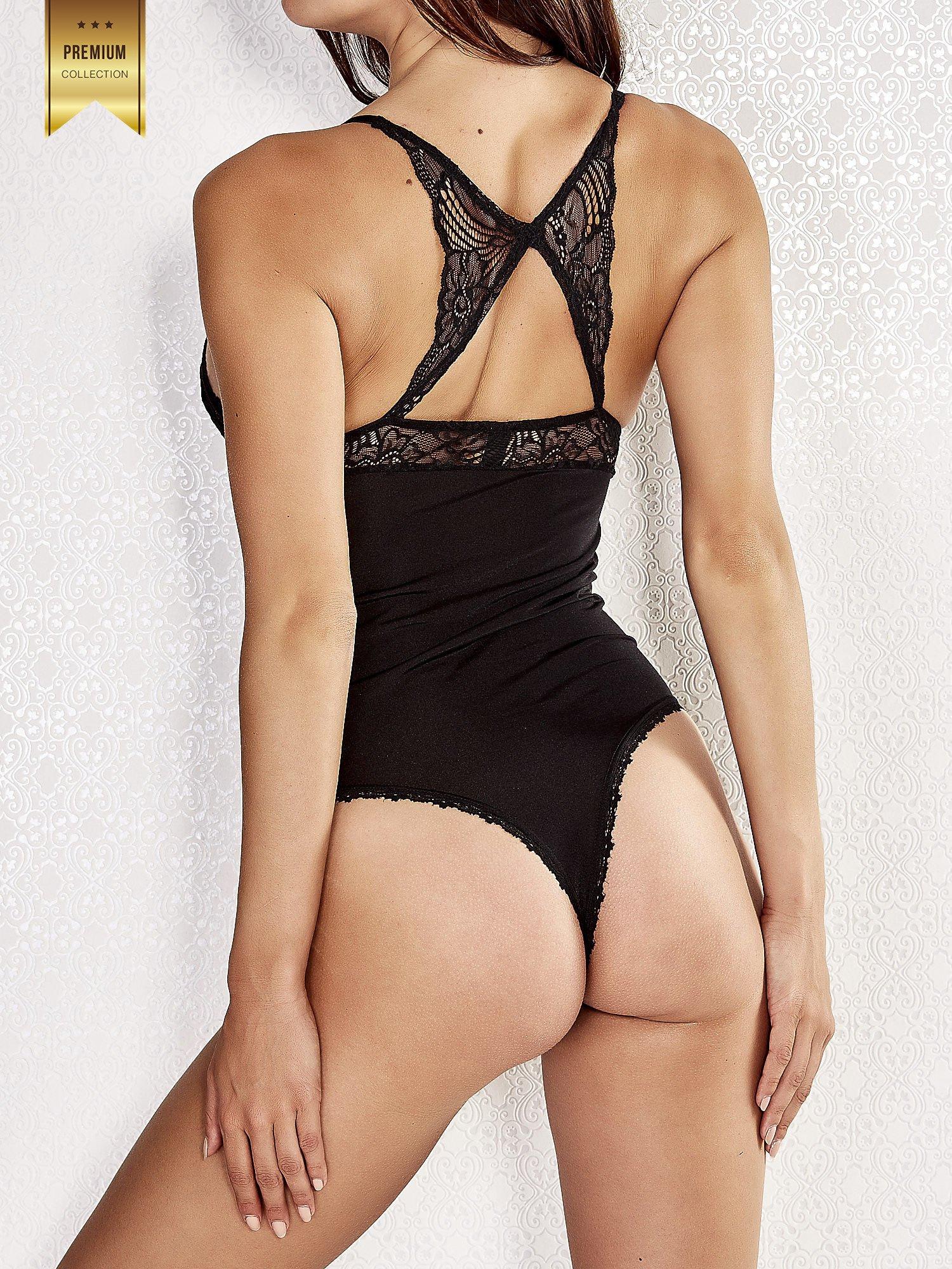 Czarne usztywniane body damskie z wycięciem na plecach                                  zdj.                                  4