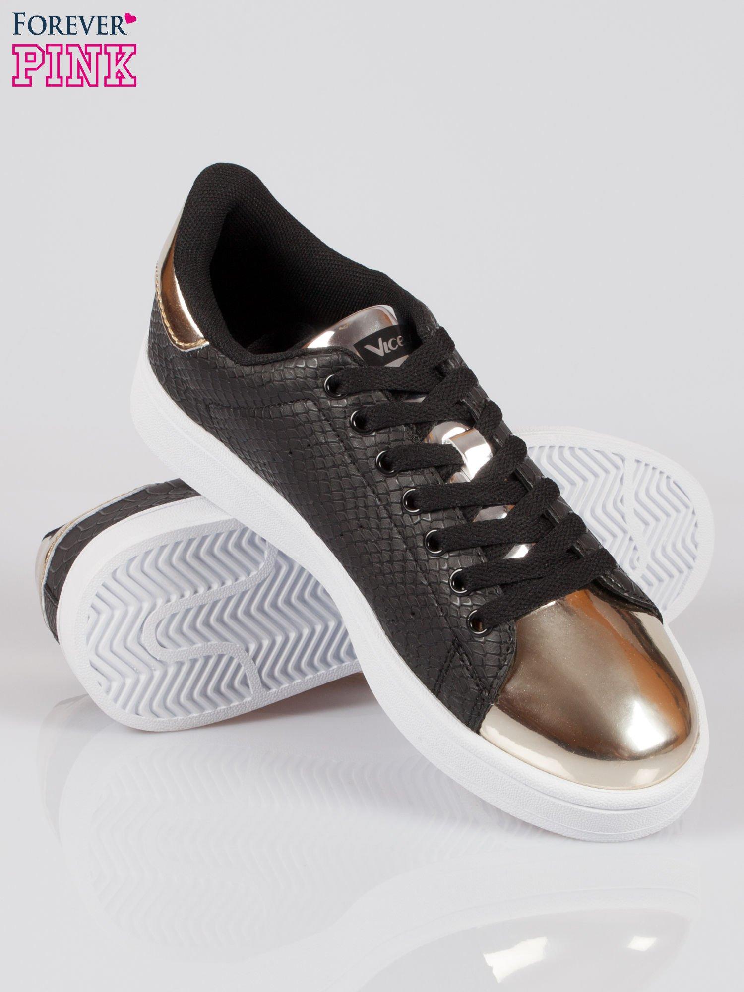 Czarne wężowe buty sportowe gold cap toe                                  zdj.                                  4