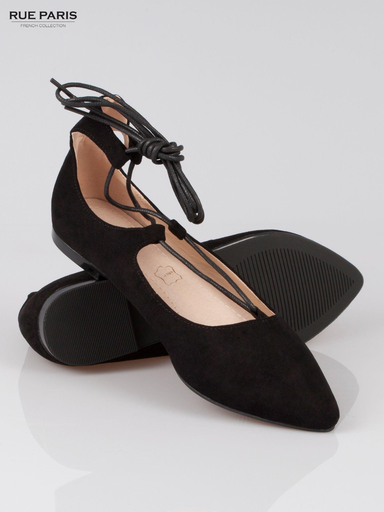 Czarne wiązane baleriny faux suede Kim lace up z zamszu                                  zdj.                                  4