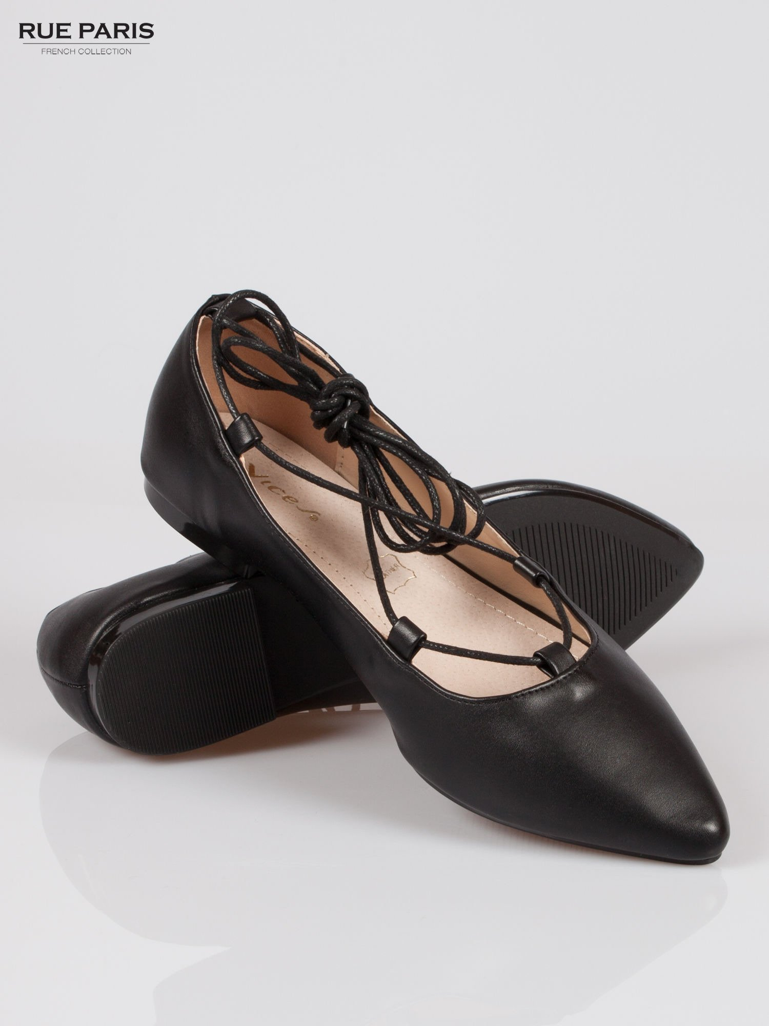 Czarne wiązane baleriny leather Kylie lace up                                  zdj.                                  4