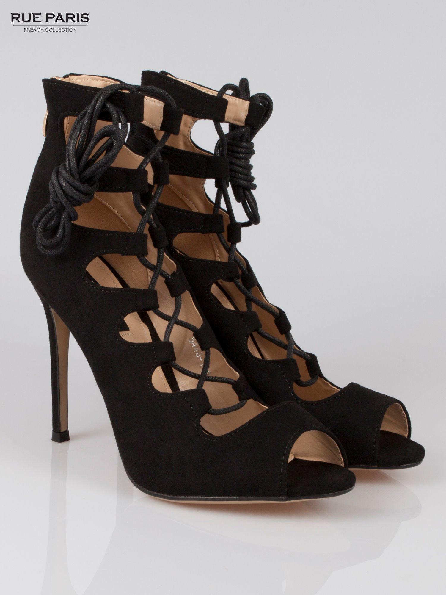 Czarne wiązane szpilki gladiatorki lace up                                  zdj.                                  2