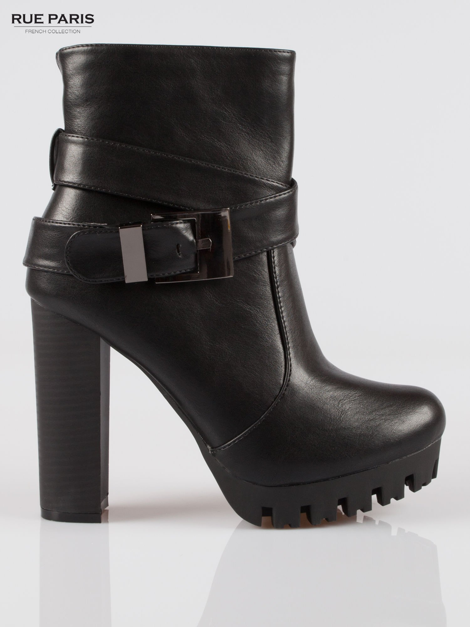 Czarne wysokie botki na platformie w stylu motocyklowym                                  zdj.                                  1