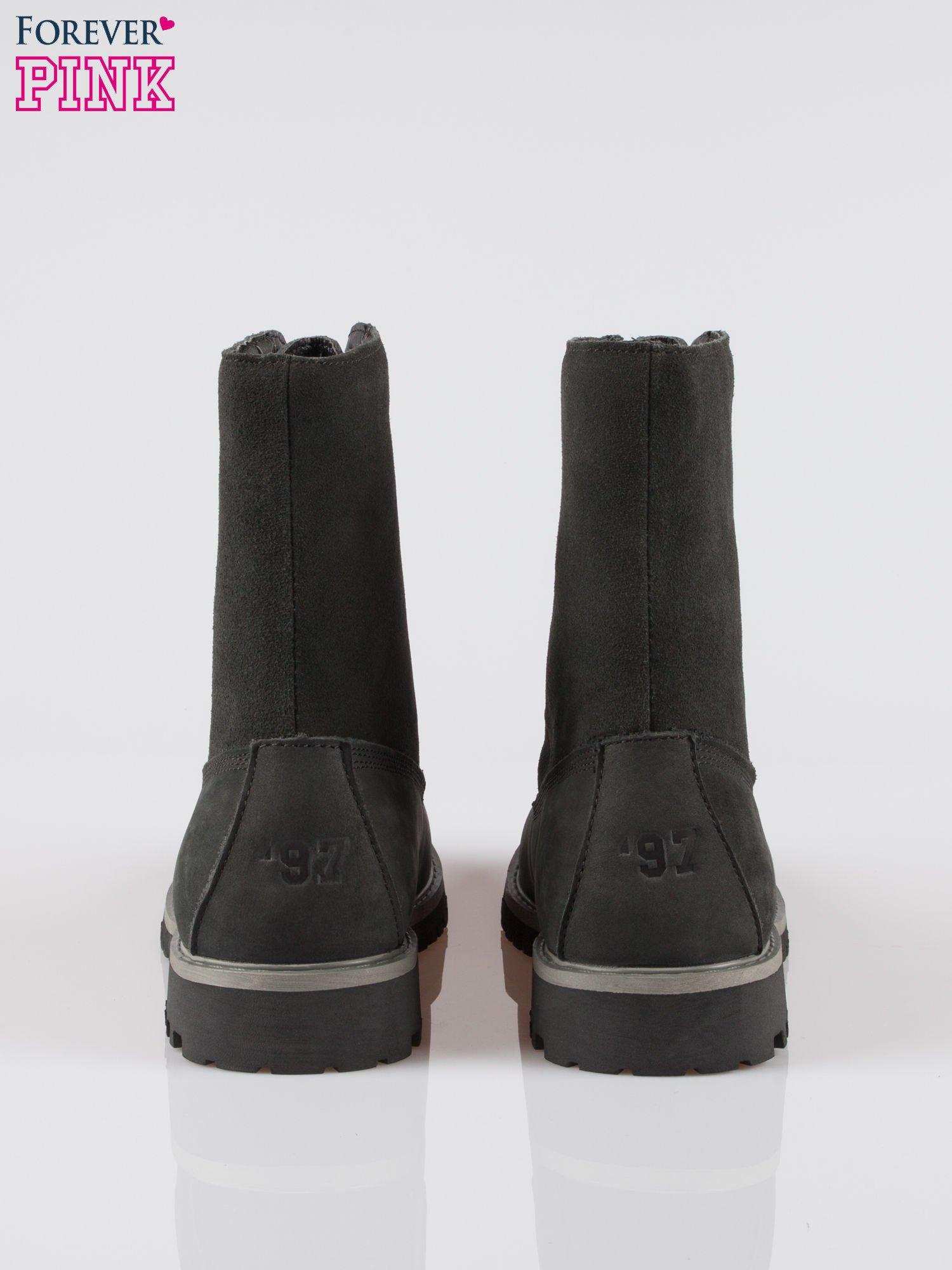 Czarne wysokie buty trekkingowe traperki damskie ze skóry naturalnej                                  zdj.                                  3