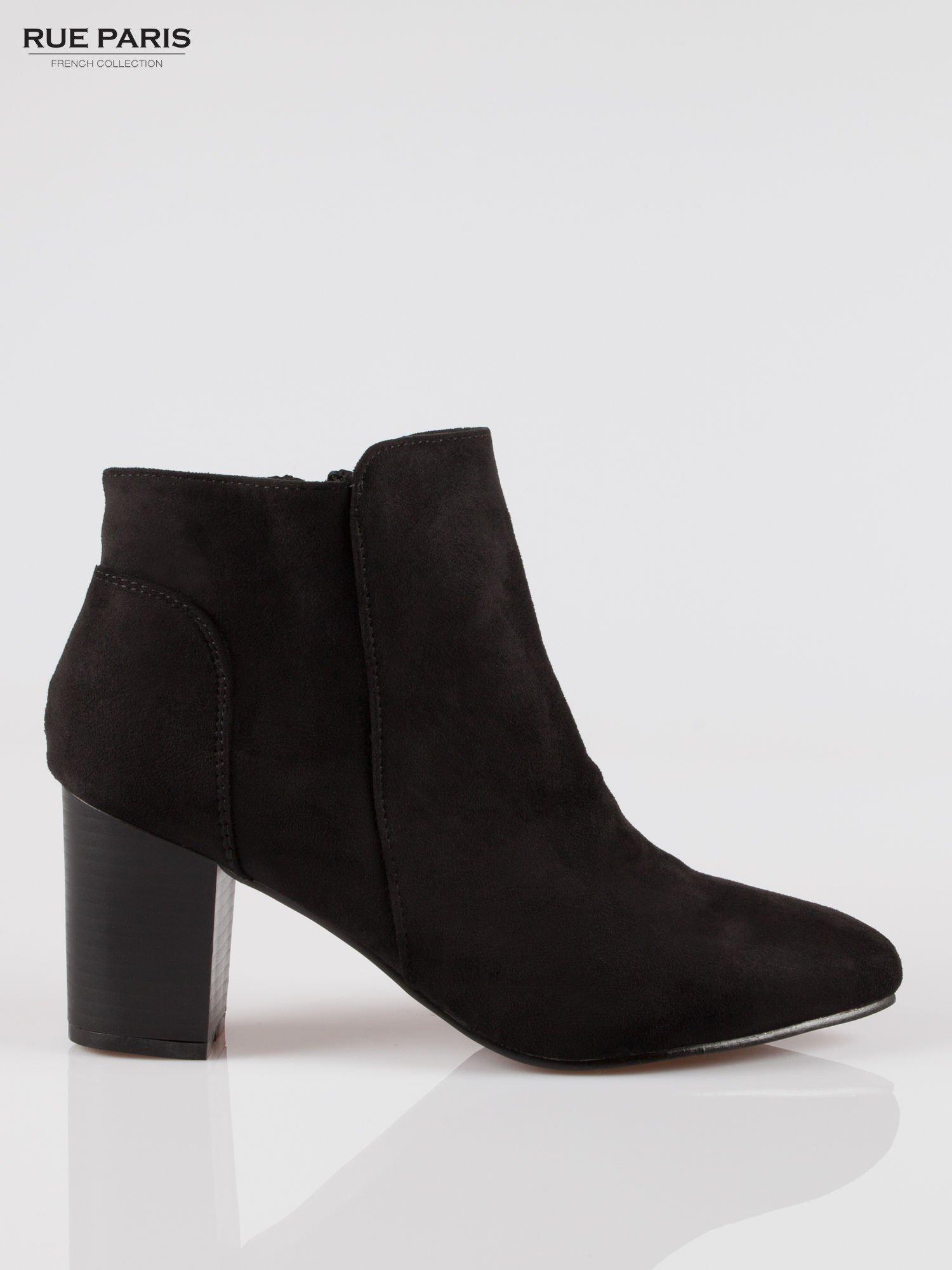 Czarne zamszowe botki ankle heels na słupku                                  zdj.                                  1
