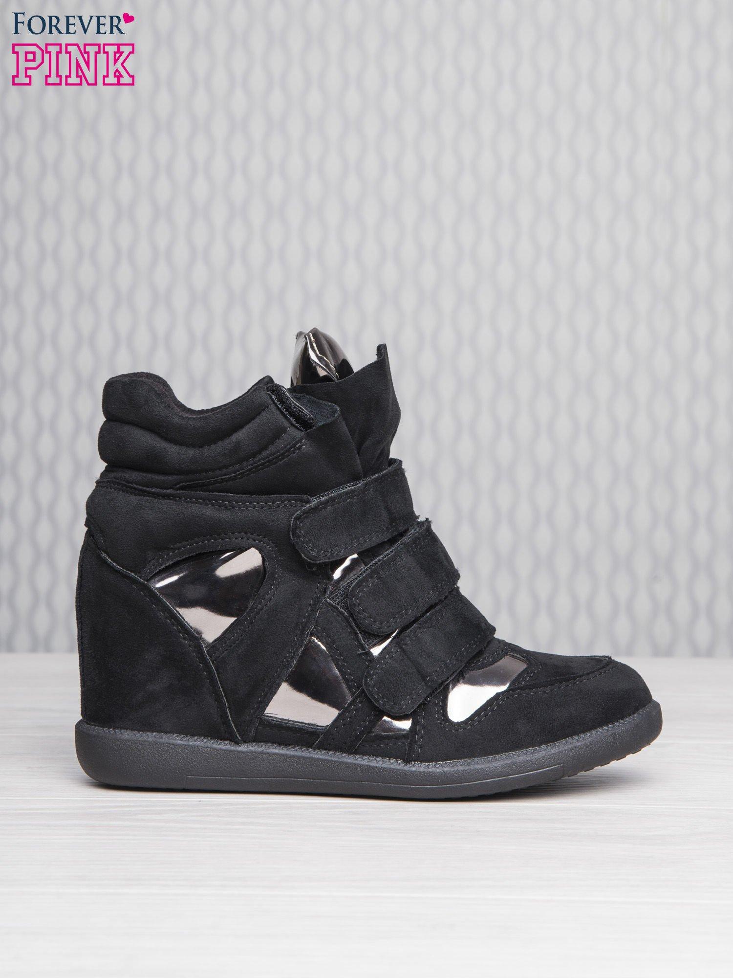 Czarne zamszowe sneakersy damskie na rzepy Verity z lustrzanymi wstawkami                                  zdj.                                  2