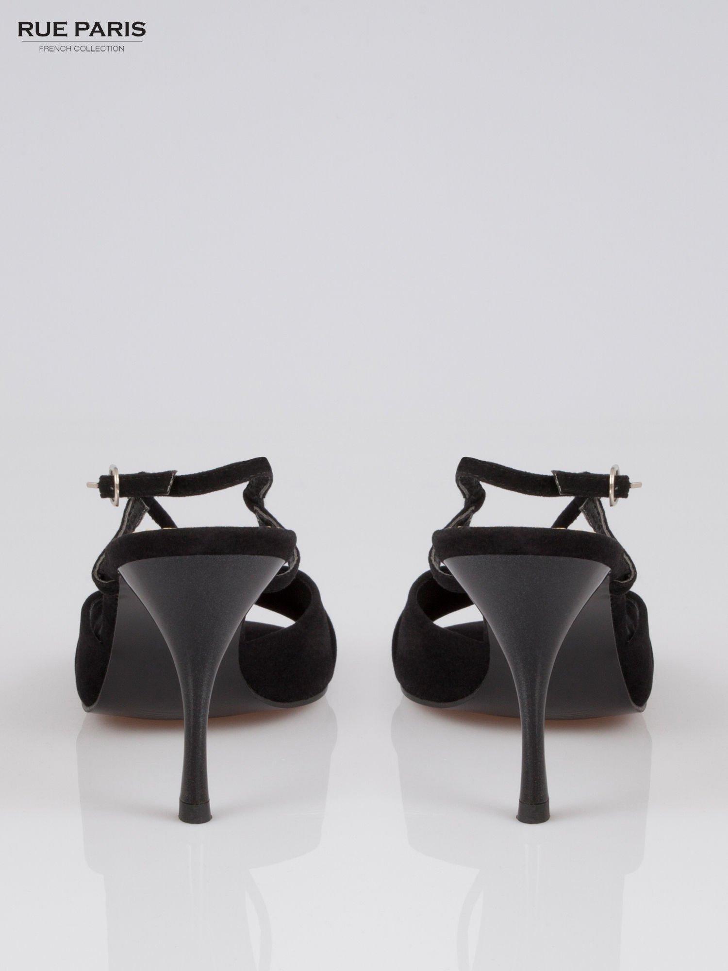 Czarne zamszowe szpilki faux suede                                  zdj.                                  3