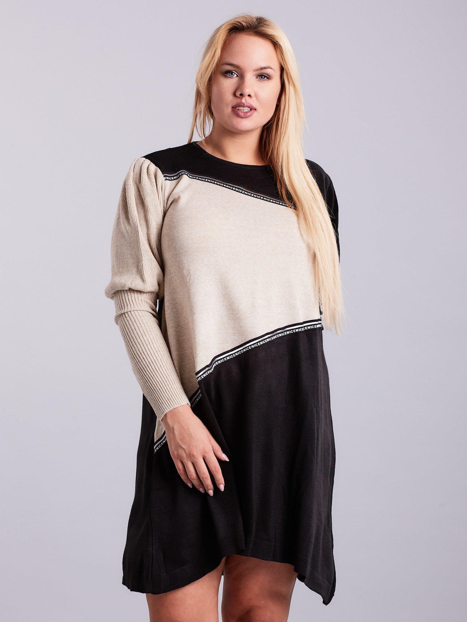 35e929b0a6 Czarno-beżowa sukienka dzianinowa PLUS SIZE - Sukienka plus size ...