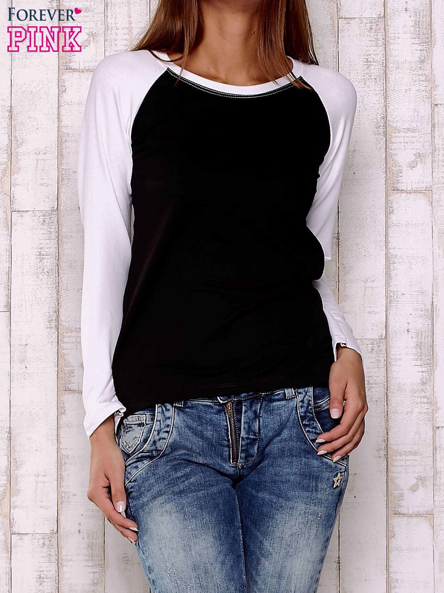 Czarno-biała gładka bluza                                  zdj.                                  1