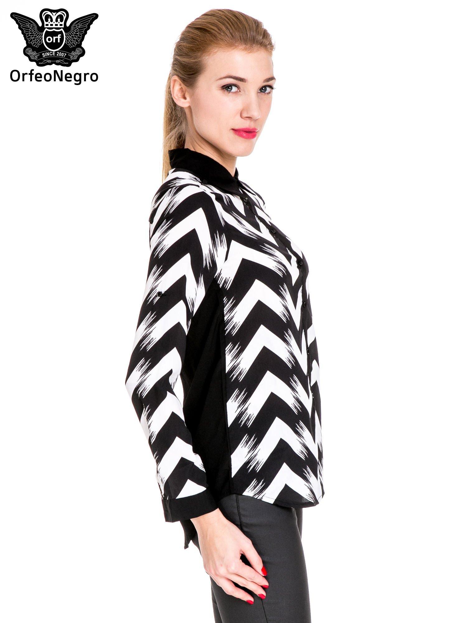 Czarno-biała koszula w geometryczny wzór                                  zdj.                                  3
