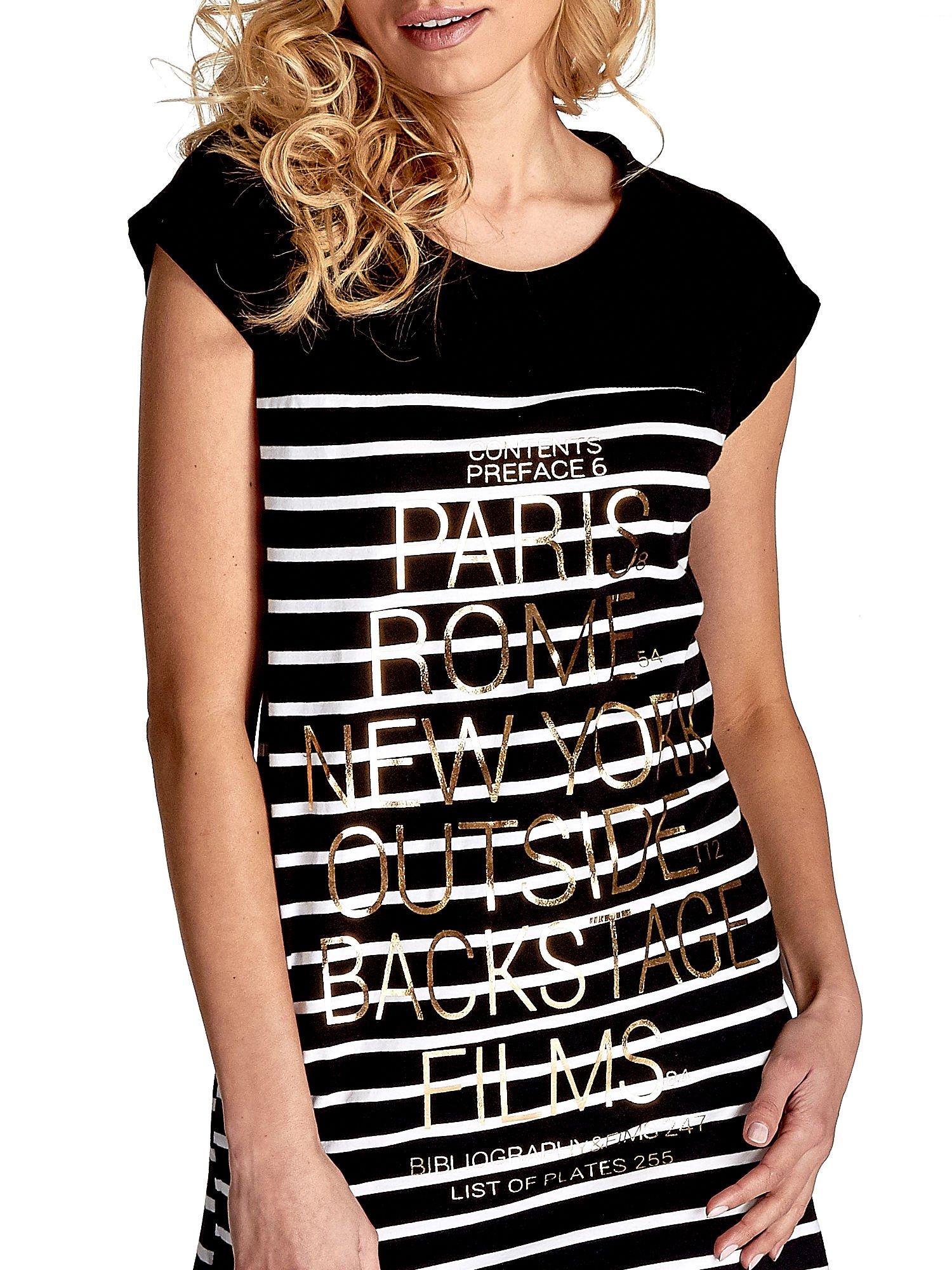 Czarno-biała sukienka w paski z napisem w stylu city                                  zdj.                                  6