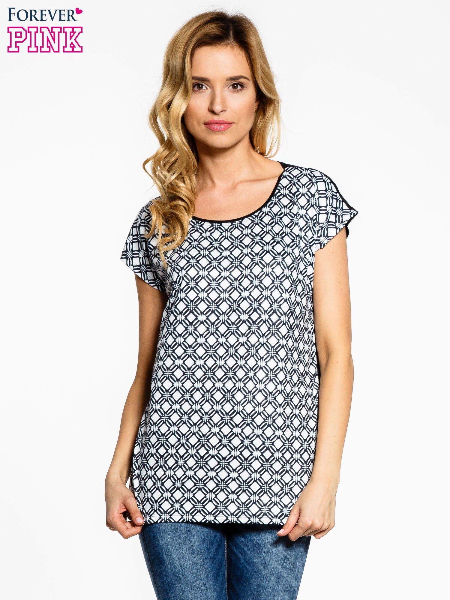 Czarno-biały t-shirt we wzory op-art                                  zdj.                                  1