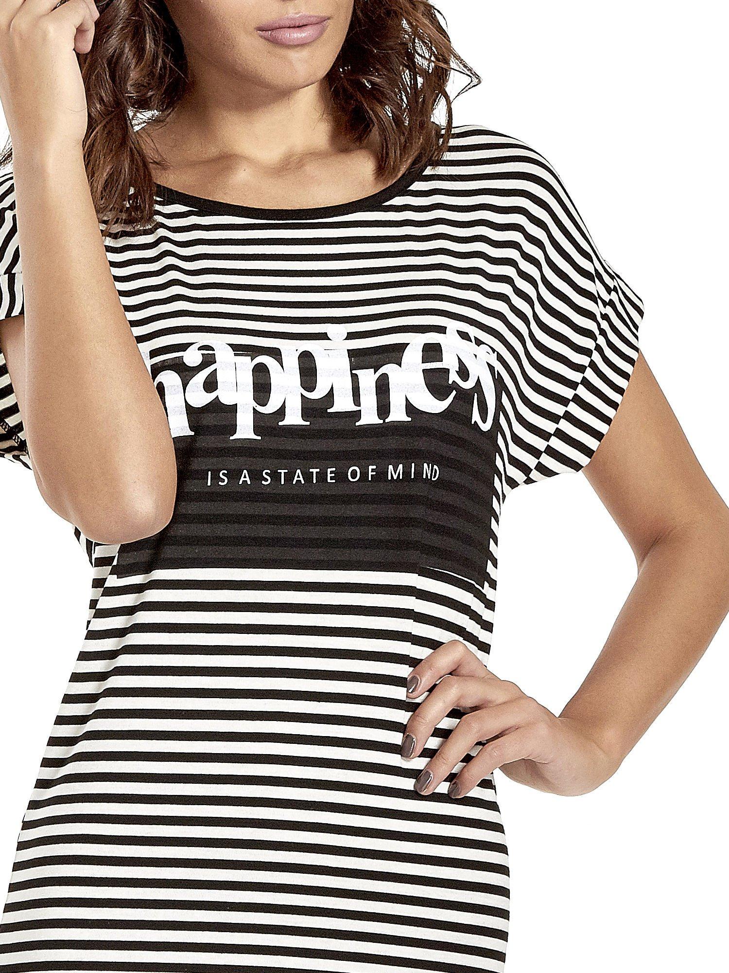 Czarno-ecru sukienka w paski z napisem HAPPINESS                                  zdj.                                  5