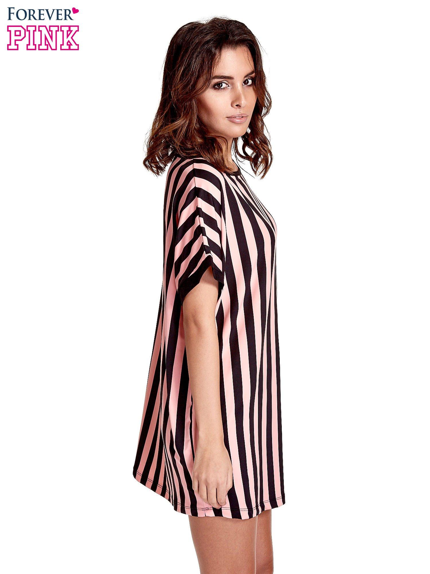 Czarno-różowa tunika w pionowe pasy                                  zdj.                                  3