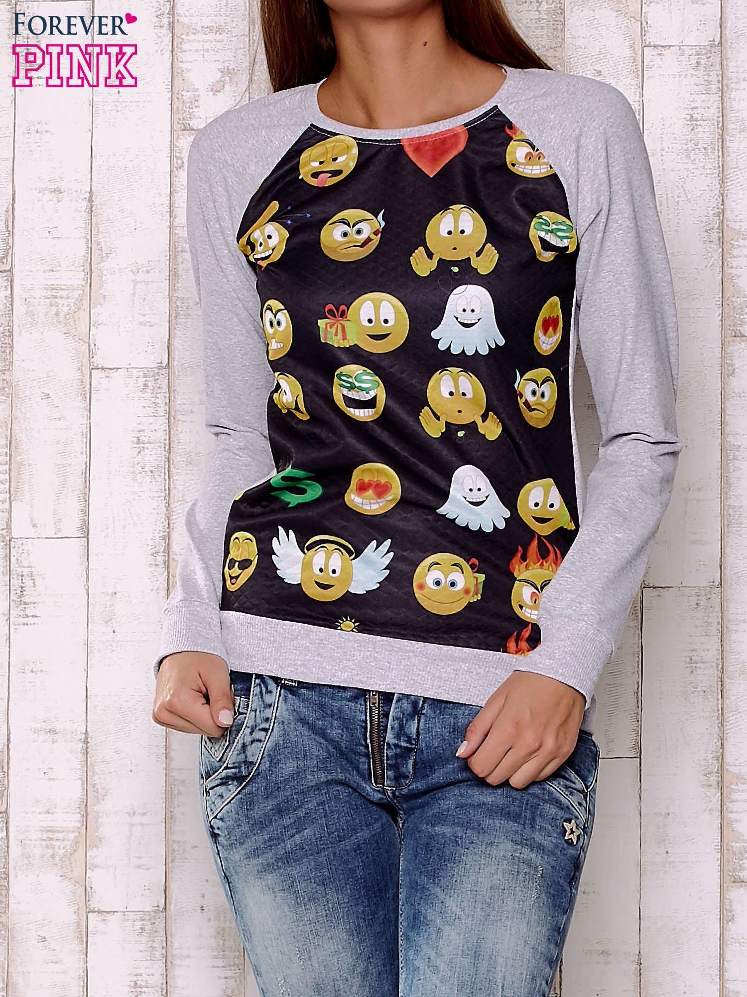 Czarno-szara bluza z nadrukiem emotikonów                                  zdj.                                  1