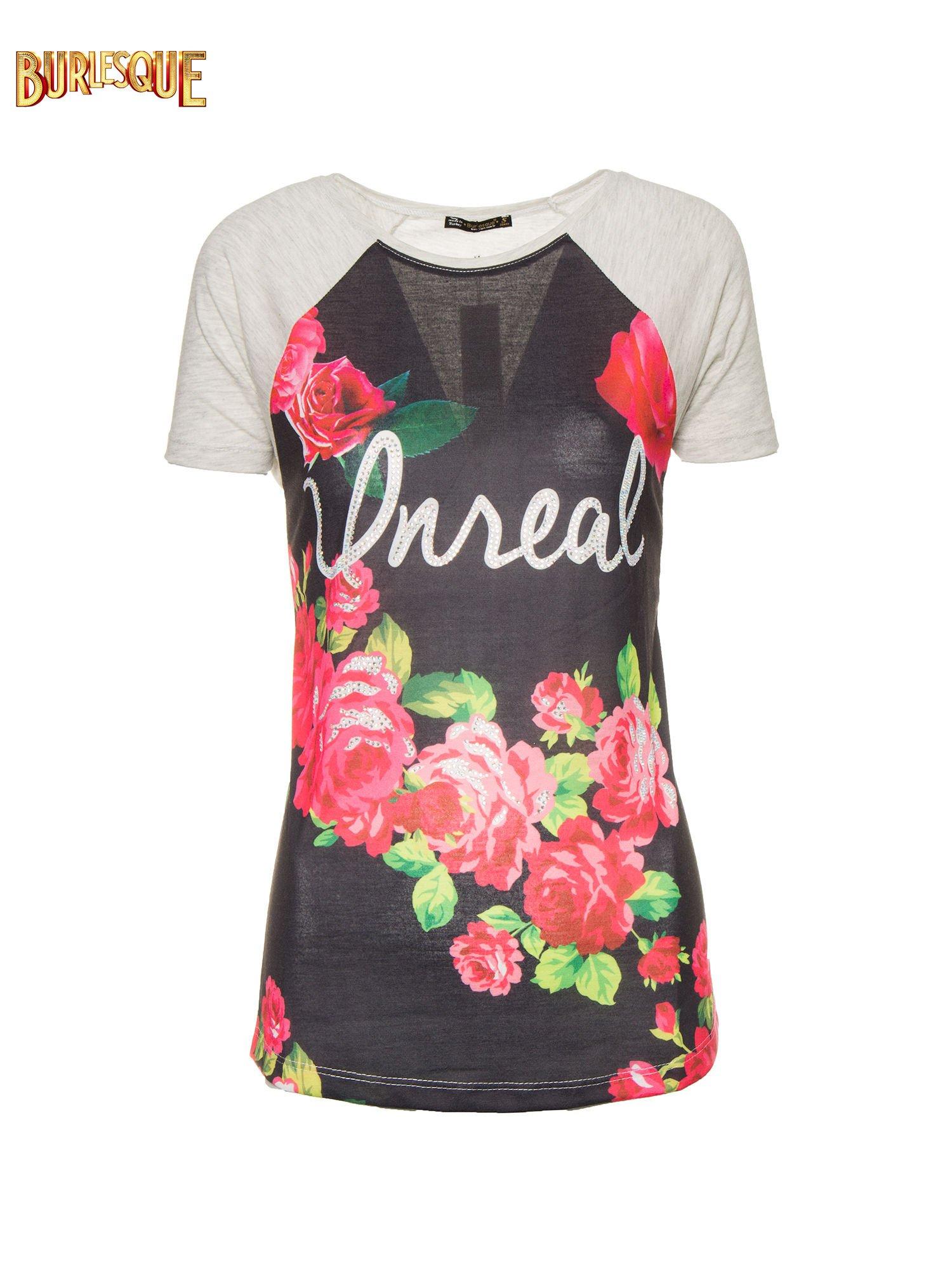 Czarnt t-shirt z kwiatowym nadrukiem i napisem UNREAL                                  zdj.                                  8