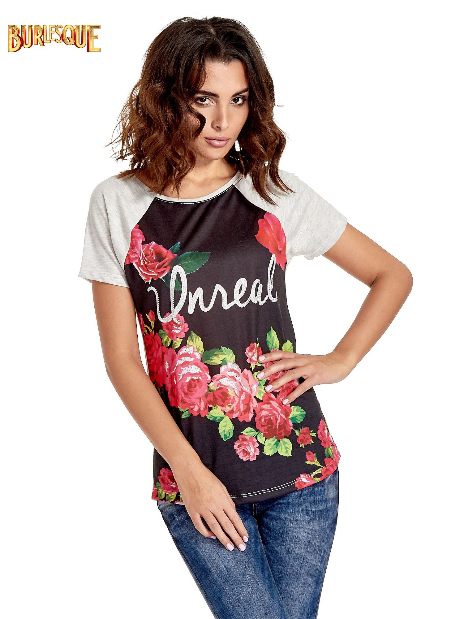 Czarnt t-shirt z kwiatowym nadrukiem i napisem UNREAL                                  zdj.                                  1