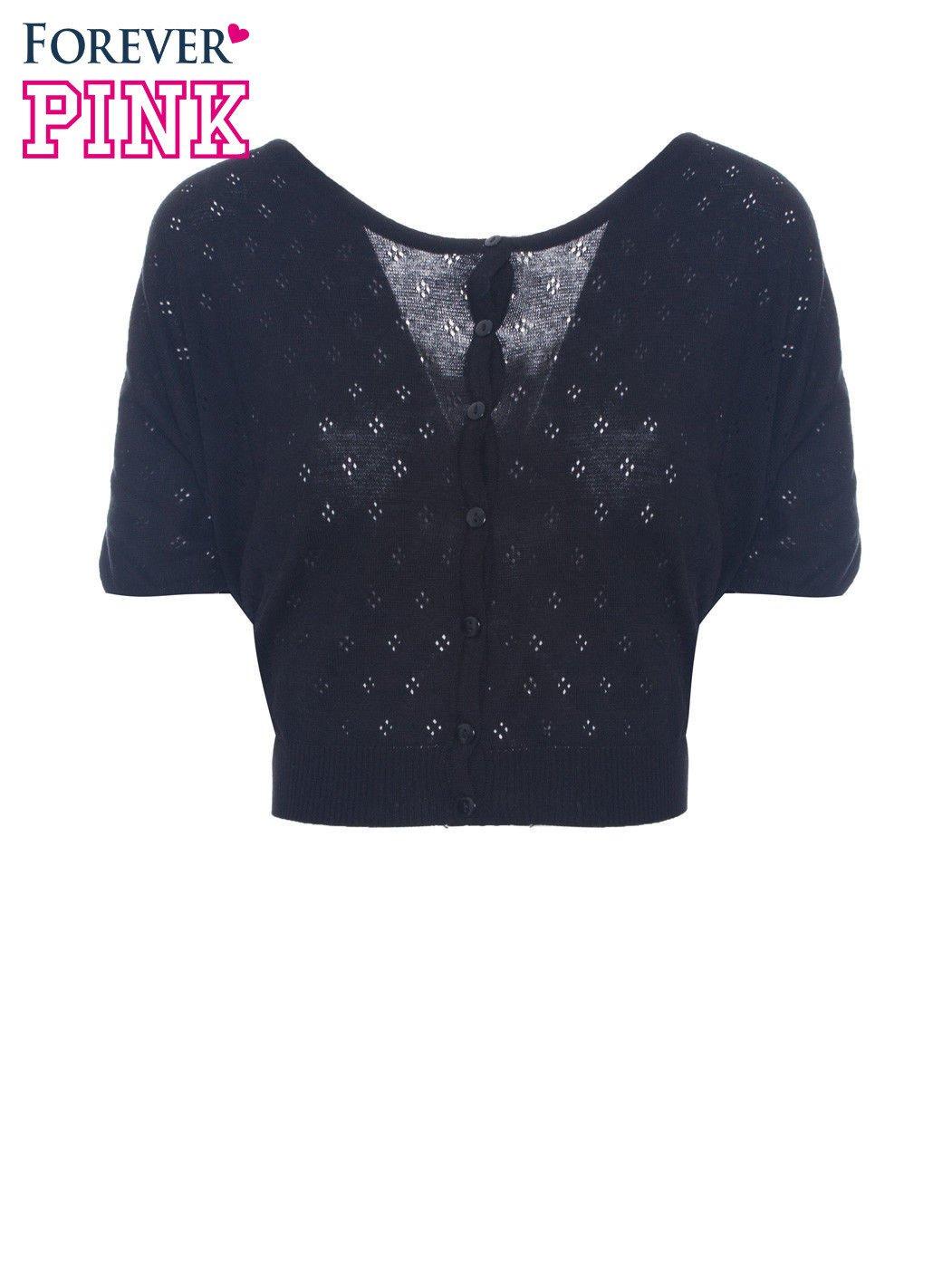 Czarny ażurowy sweterek z krótkim rękawem                                  zdj.                                  2
