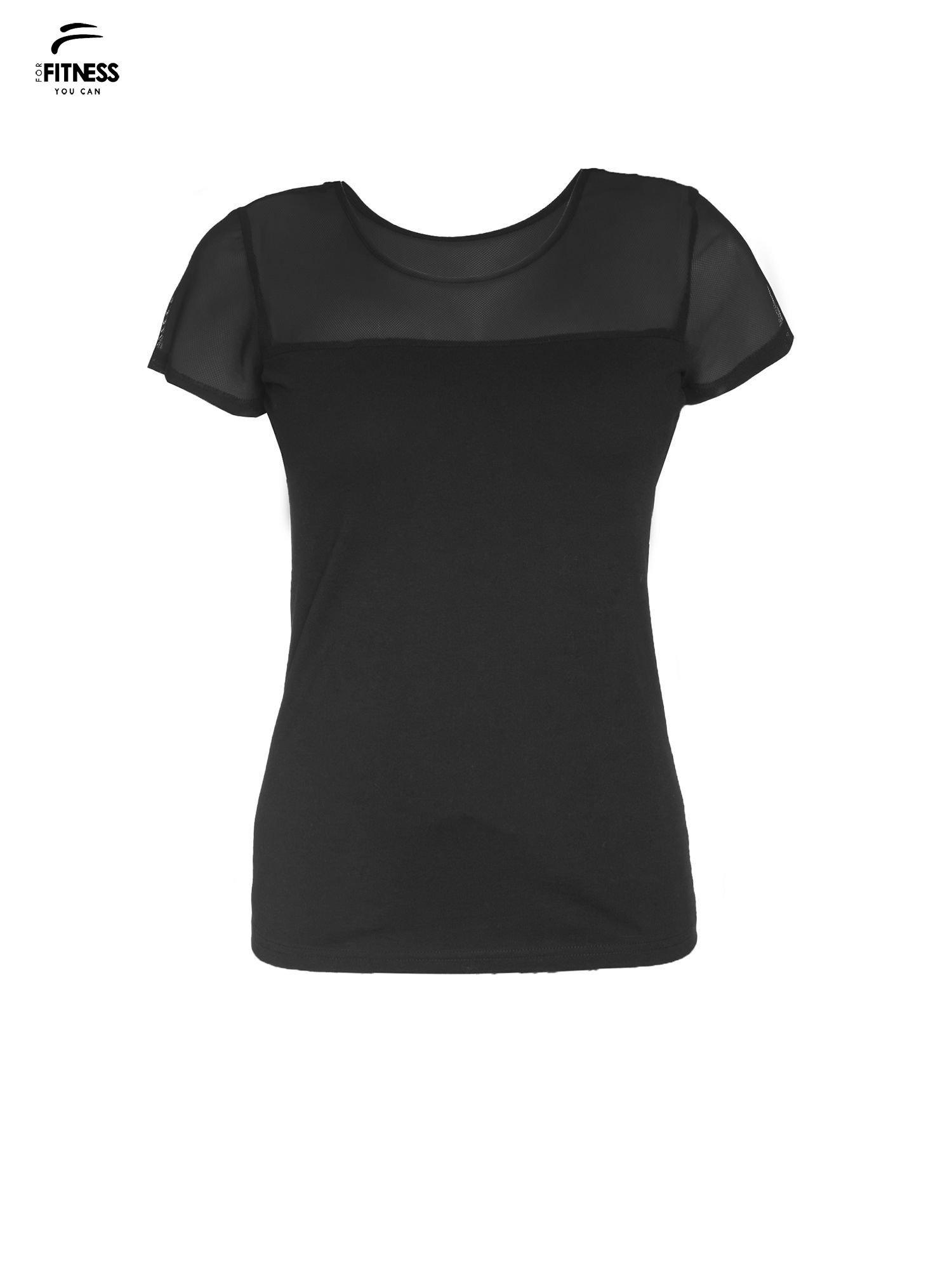 Czarny bawełniany t-shirt z siateczką                                  zdj.                                  2