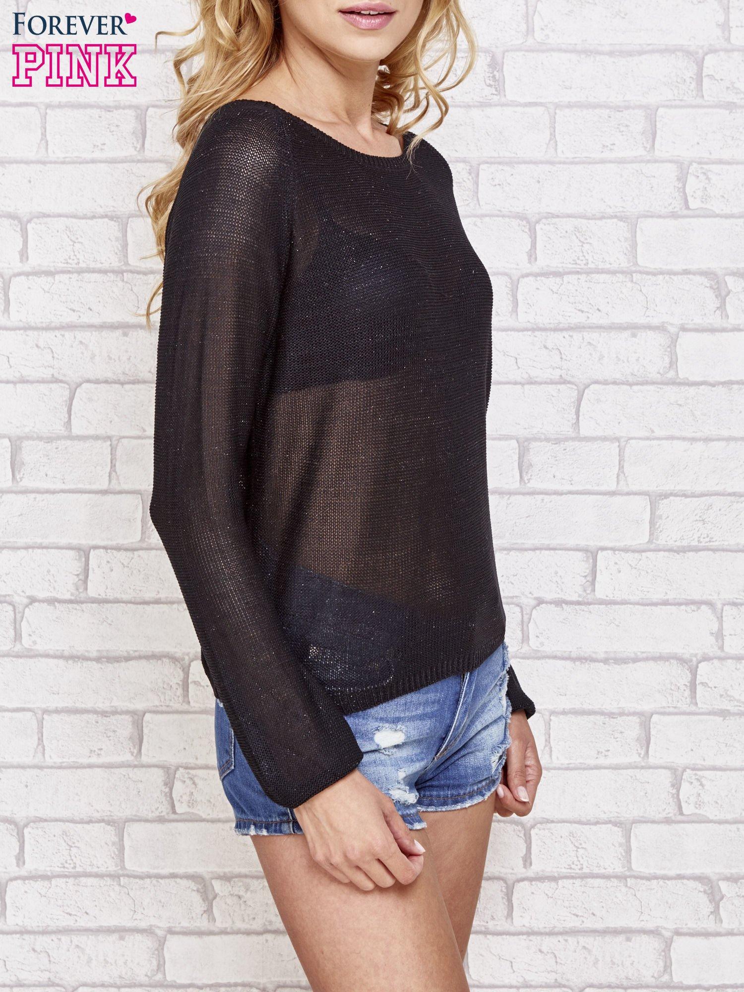 Czarny błyszczący sweter z haftem sowy z tyłu                                  zdj.                                  3