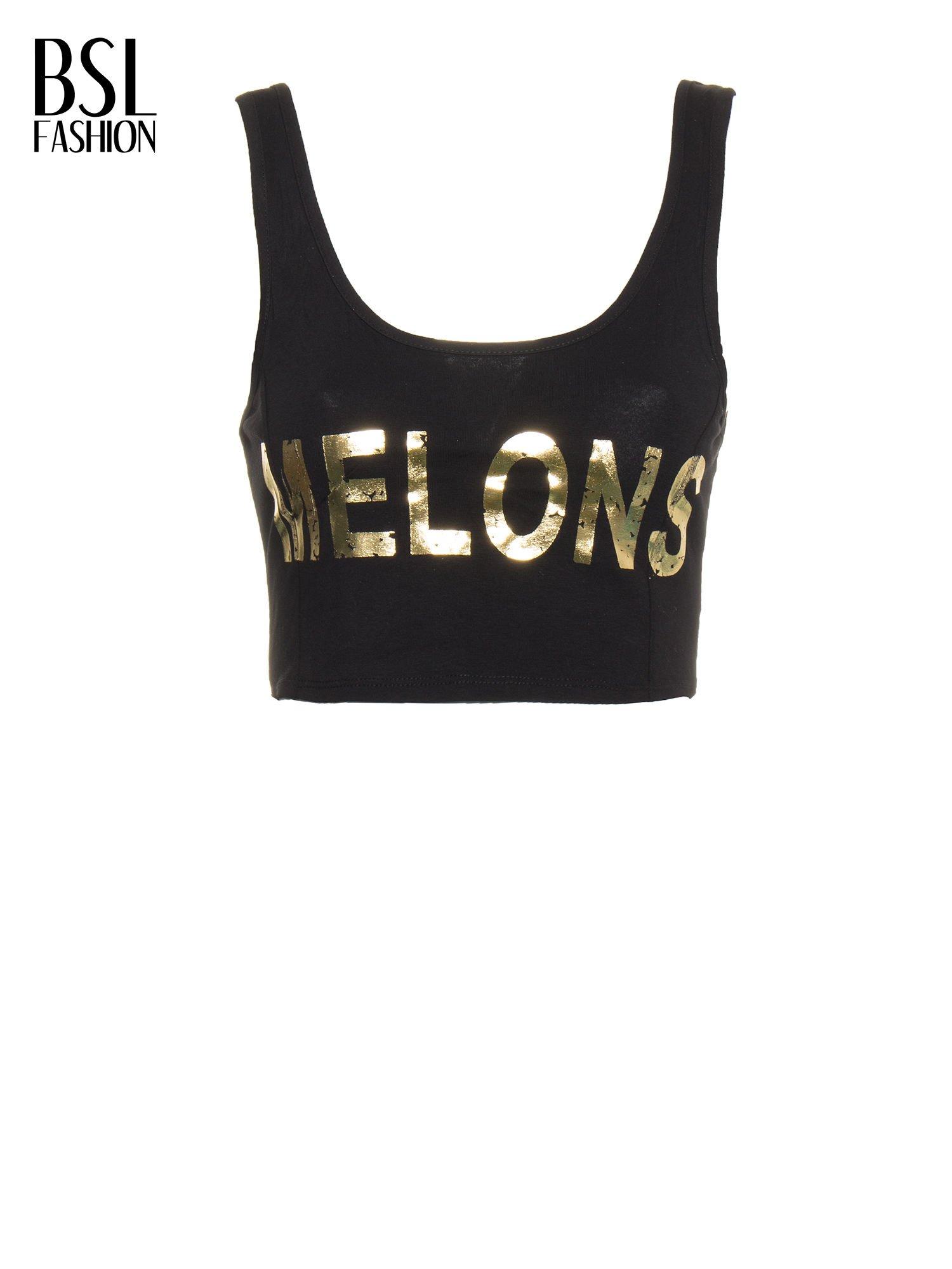 Czarny crop top ze złotym nadrukiem MELONS                                  zdj.                                  2