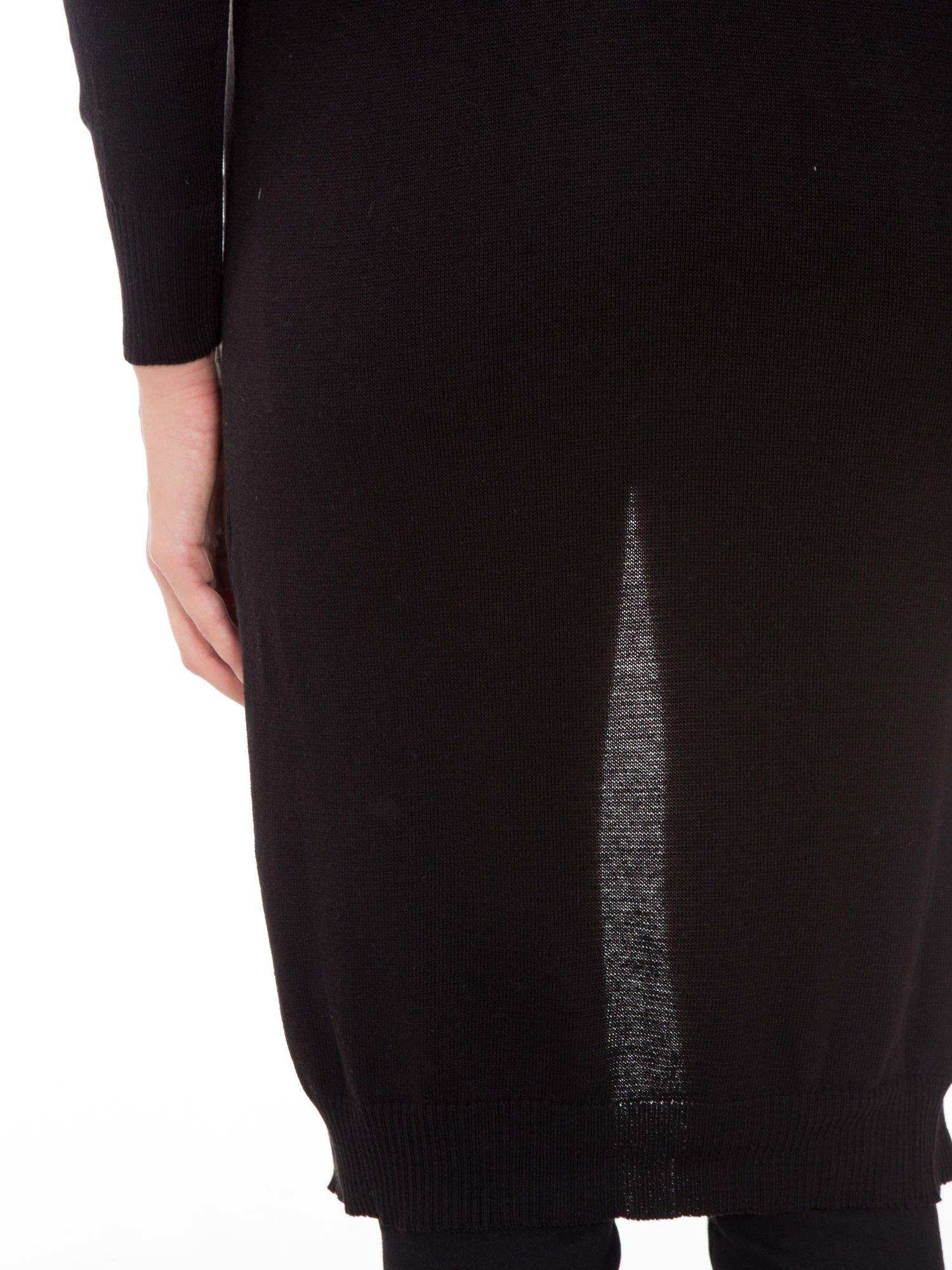 Czarny długi gładki sweter kardigan z kieszeniami                                  zdj.                                  10