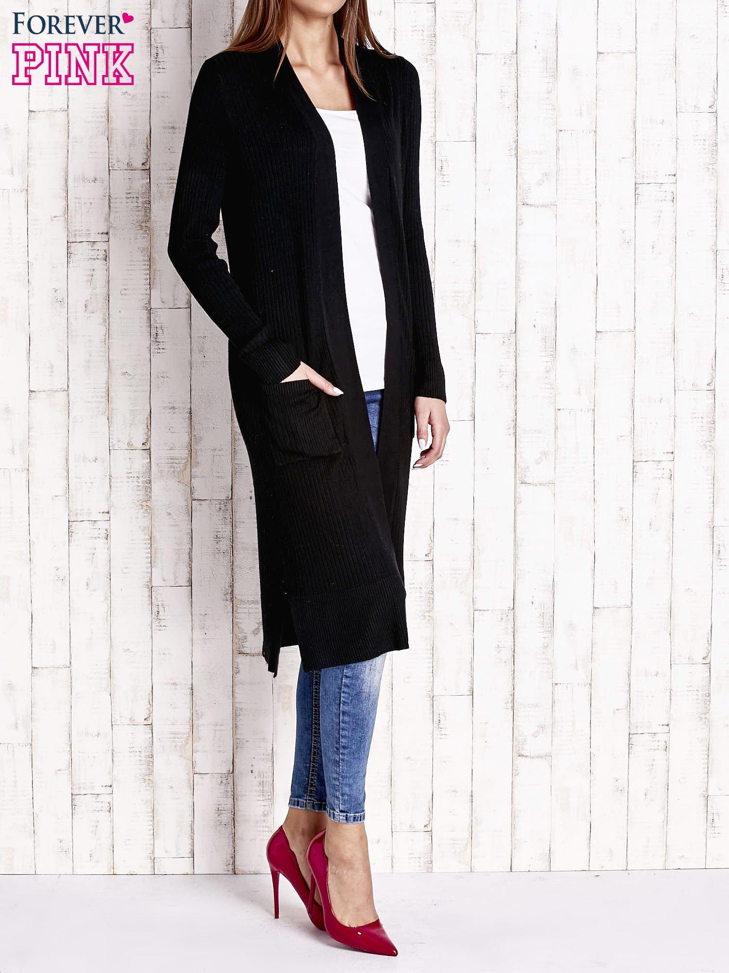 Czarny długi prążkowany sweter                                  zdj.                                  3