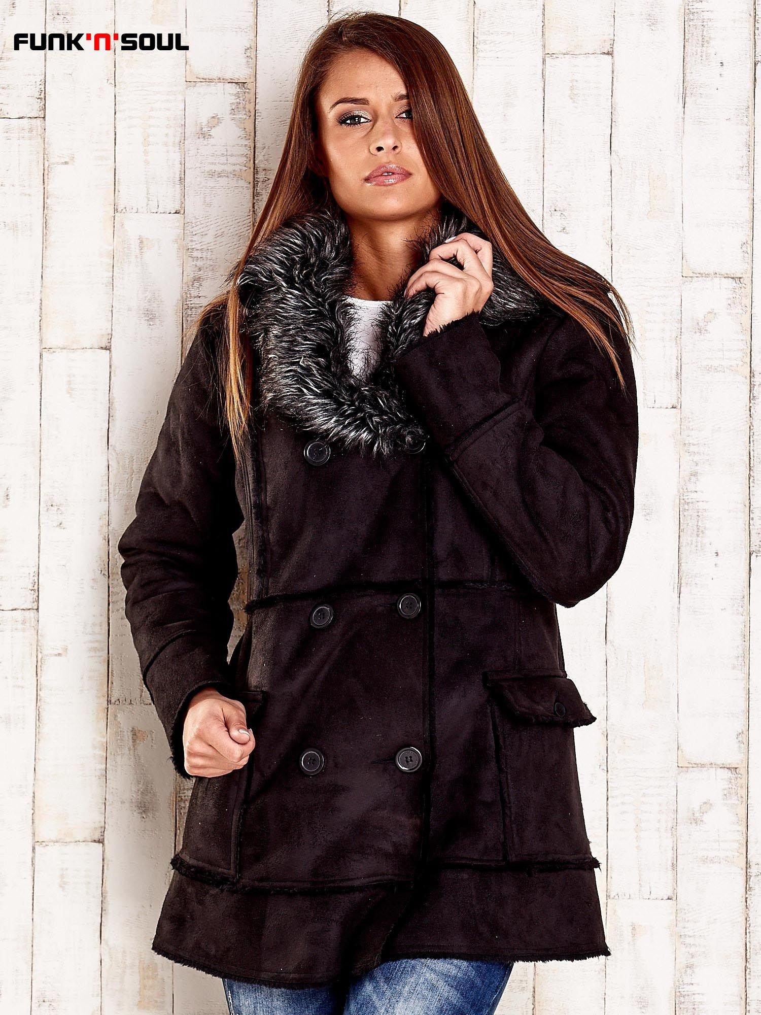 Czarny futrzany płaszcz z włochatym kołnierzem FUNK N SOUL                                  zdj.                                  1