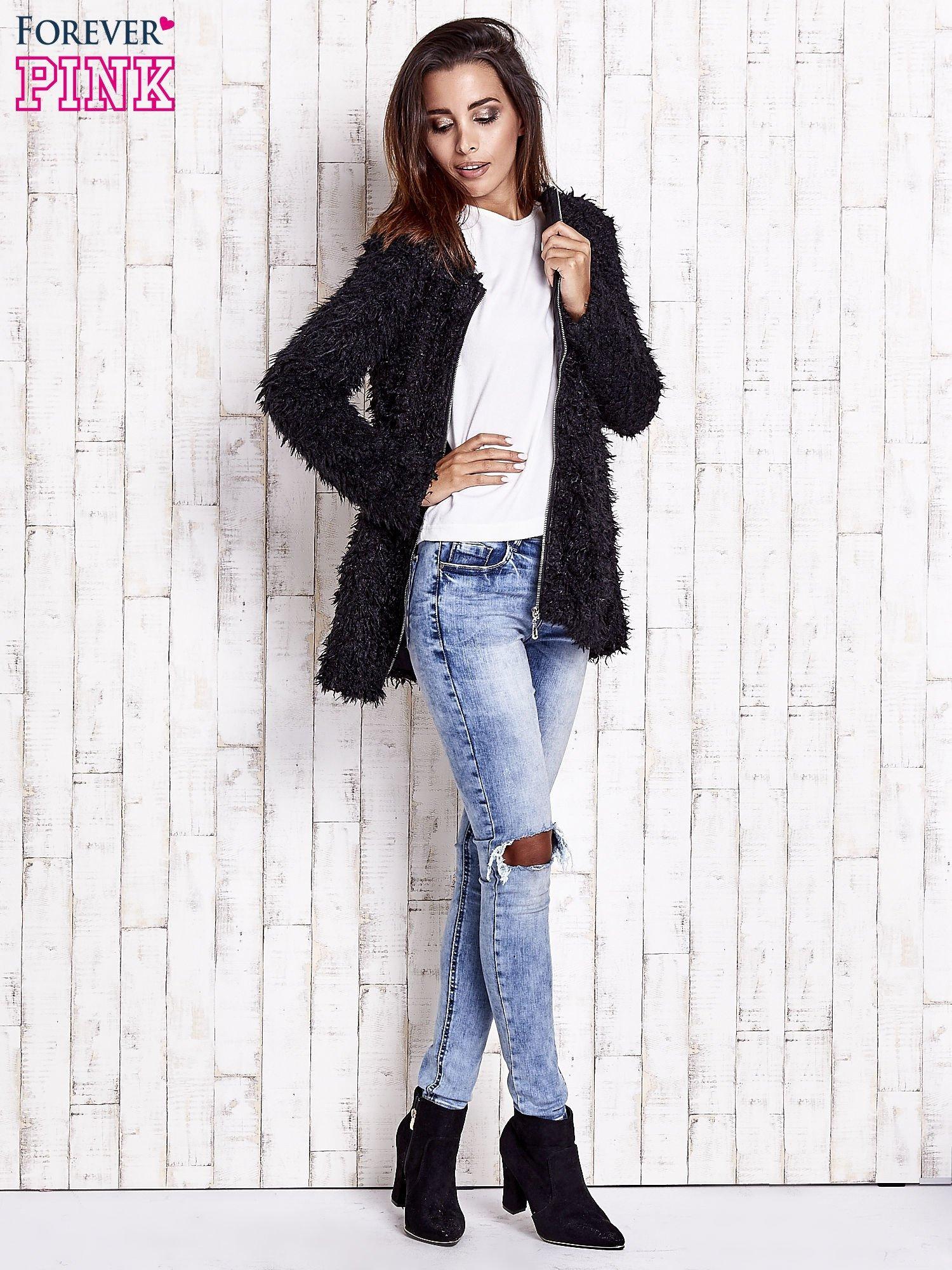 Czarny futrzany sweter kurtka na suwak                                  zdj.                                  9