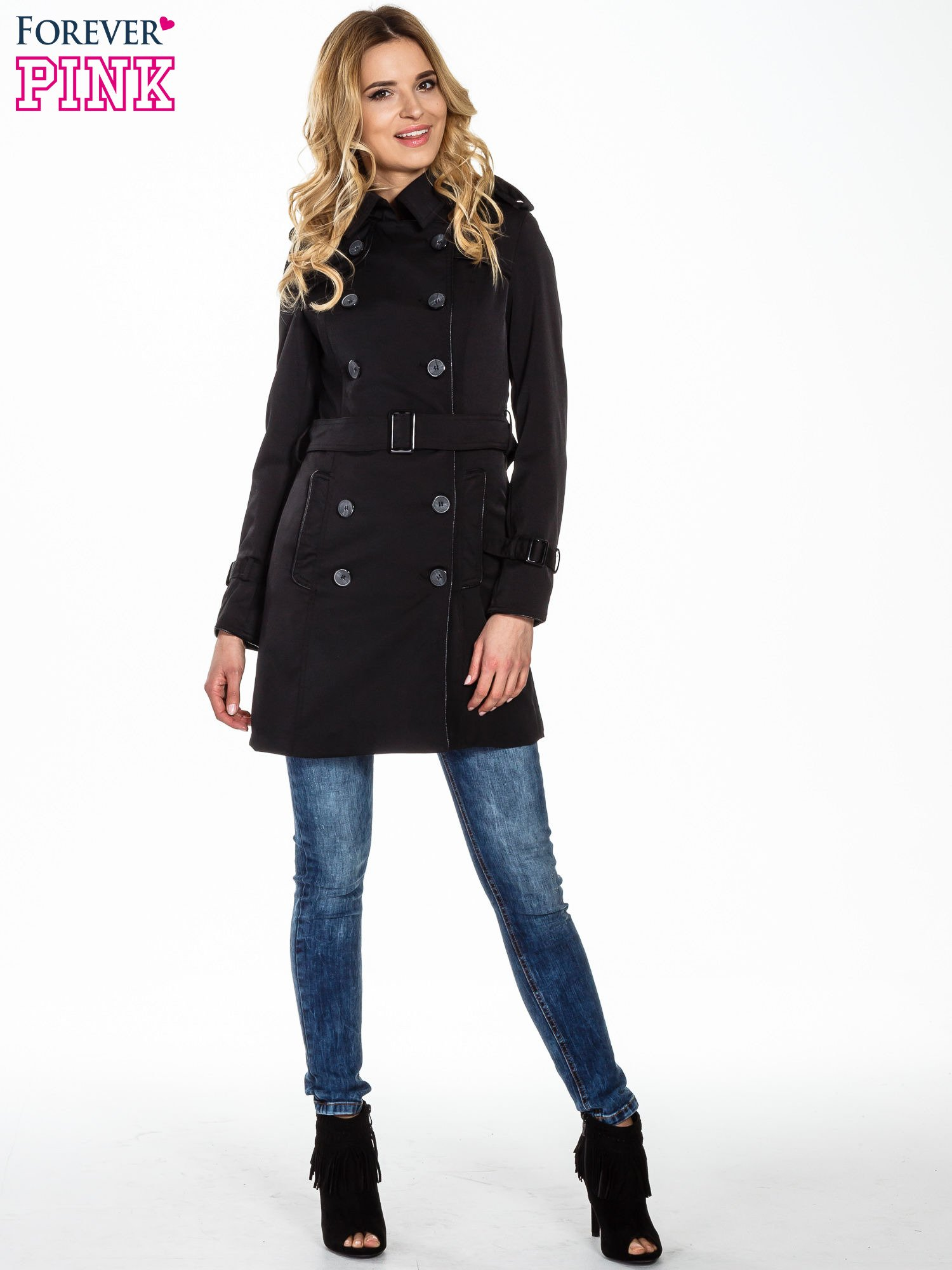 Czarny klasyczny płaszcz trencz ze skórzanym obszyciem                                  zdj.                                  7